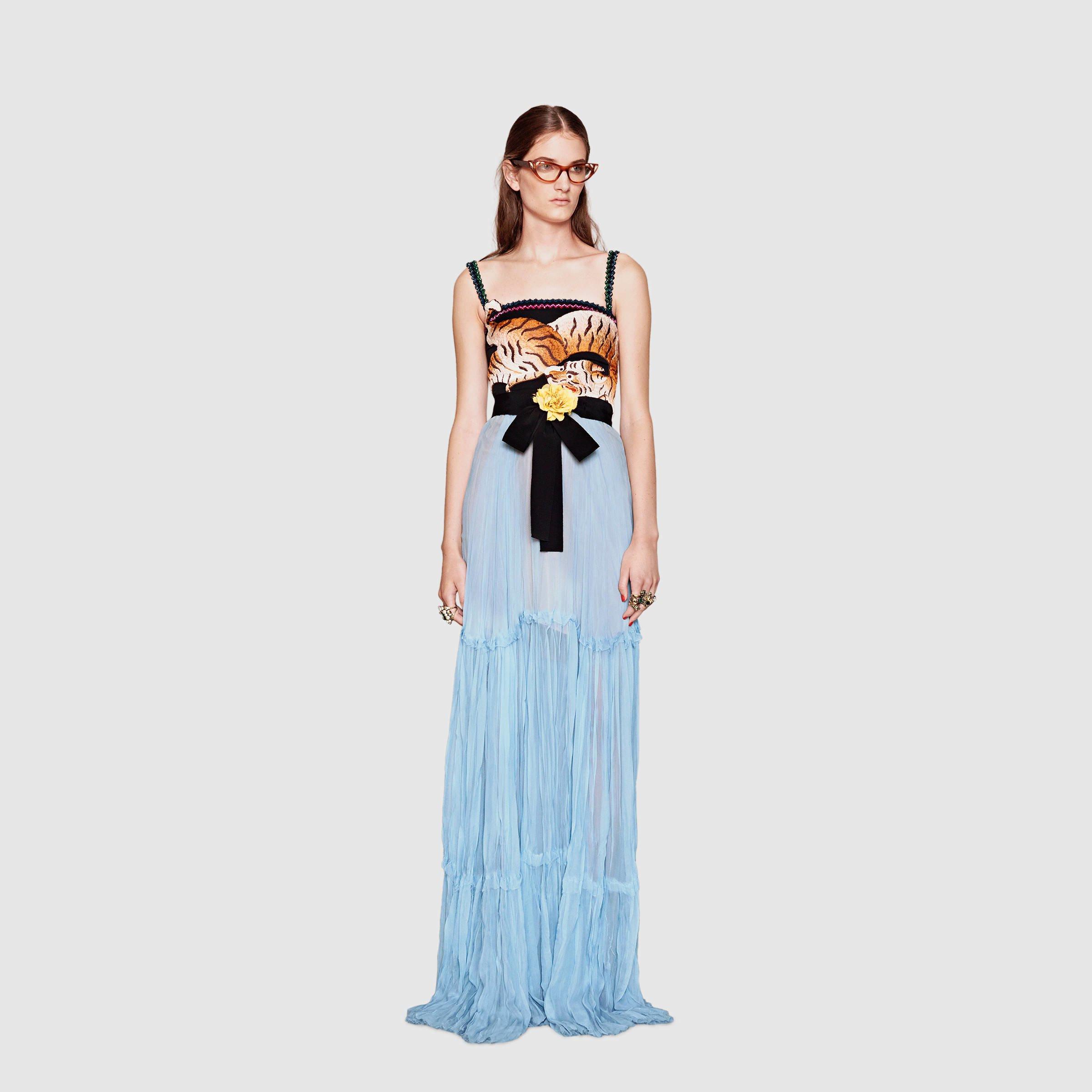 6983ab31a77 Gucci Silk Chiffon Gown in Blue - Lyst