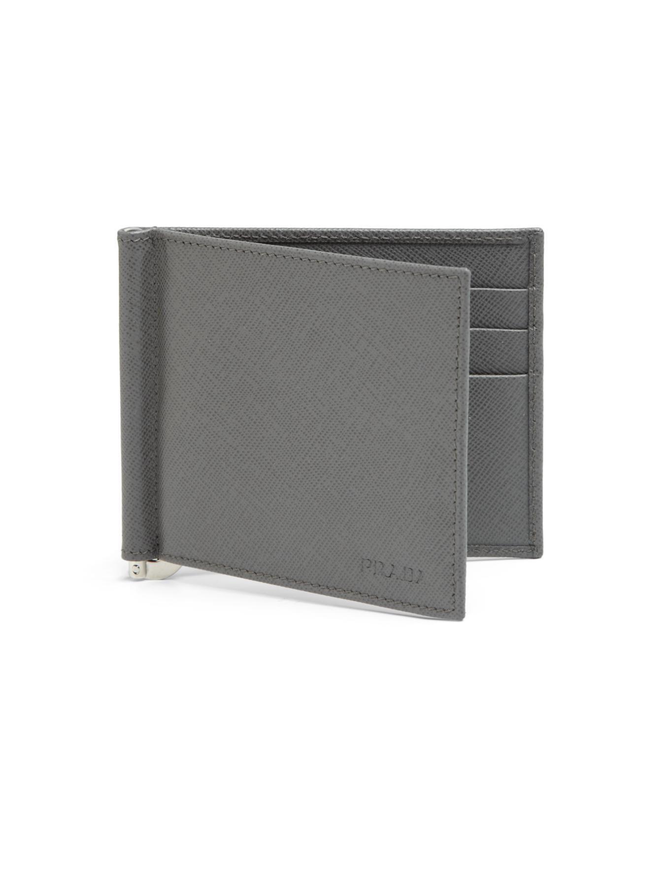 cd46cd10ff65 Prada Leather Money Clip Wallet in Gray for Men - Lyst