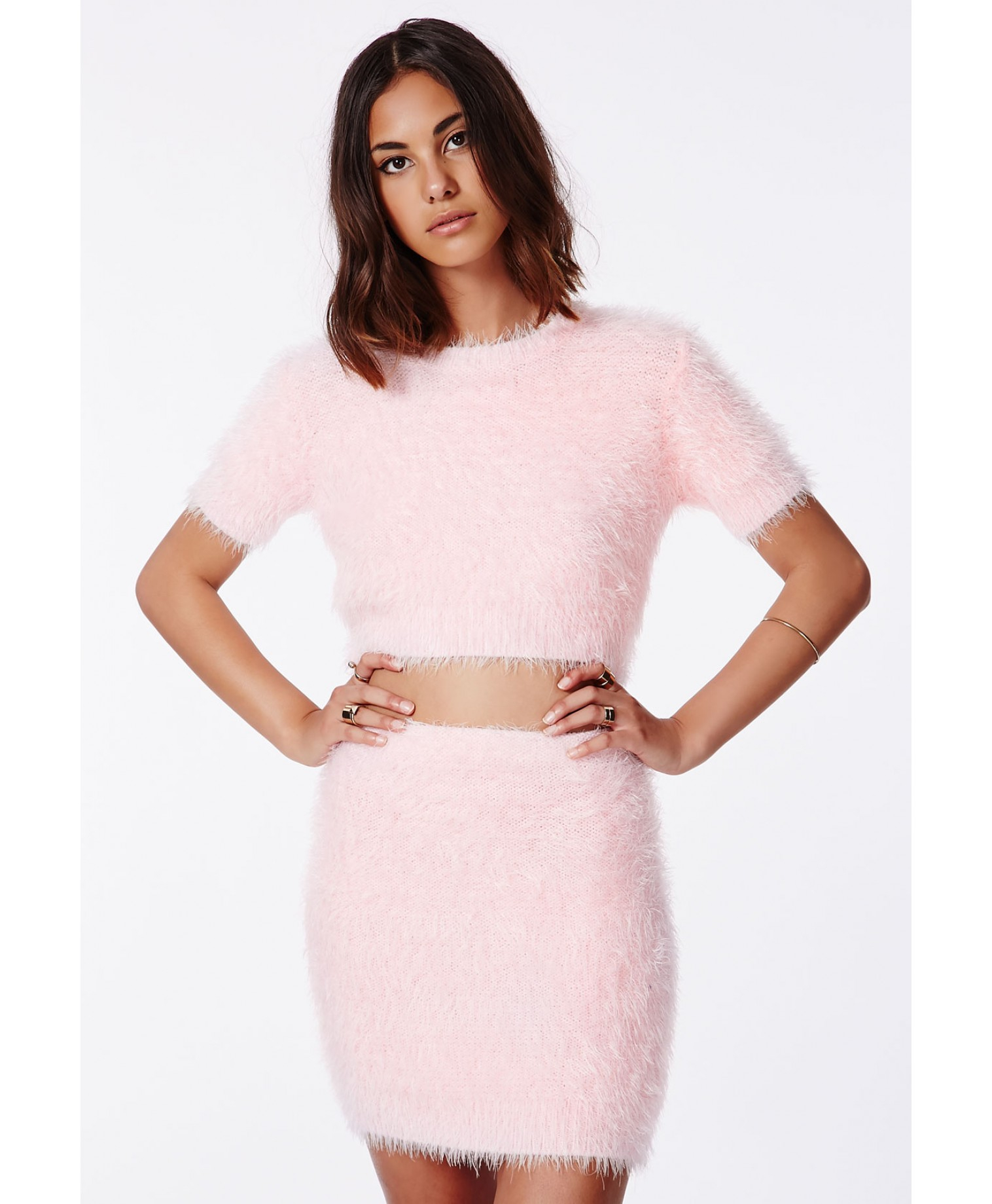 Missguided Ashlyn Fluffy Knit Mini Skirt Baby Pink In Pink
