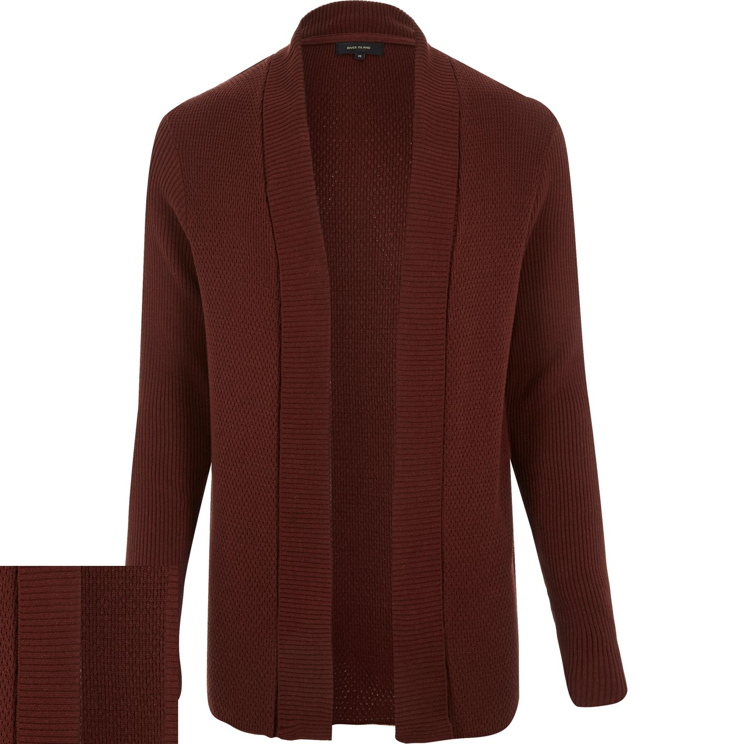 River island Rust Brown Open Front Cardigan in Brown for Men | Lyst