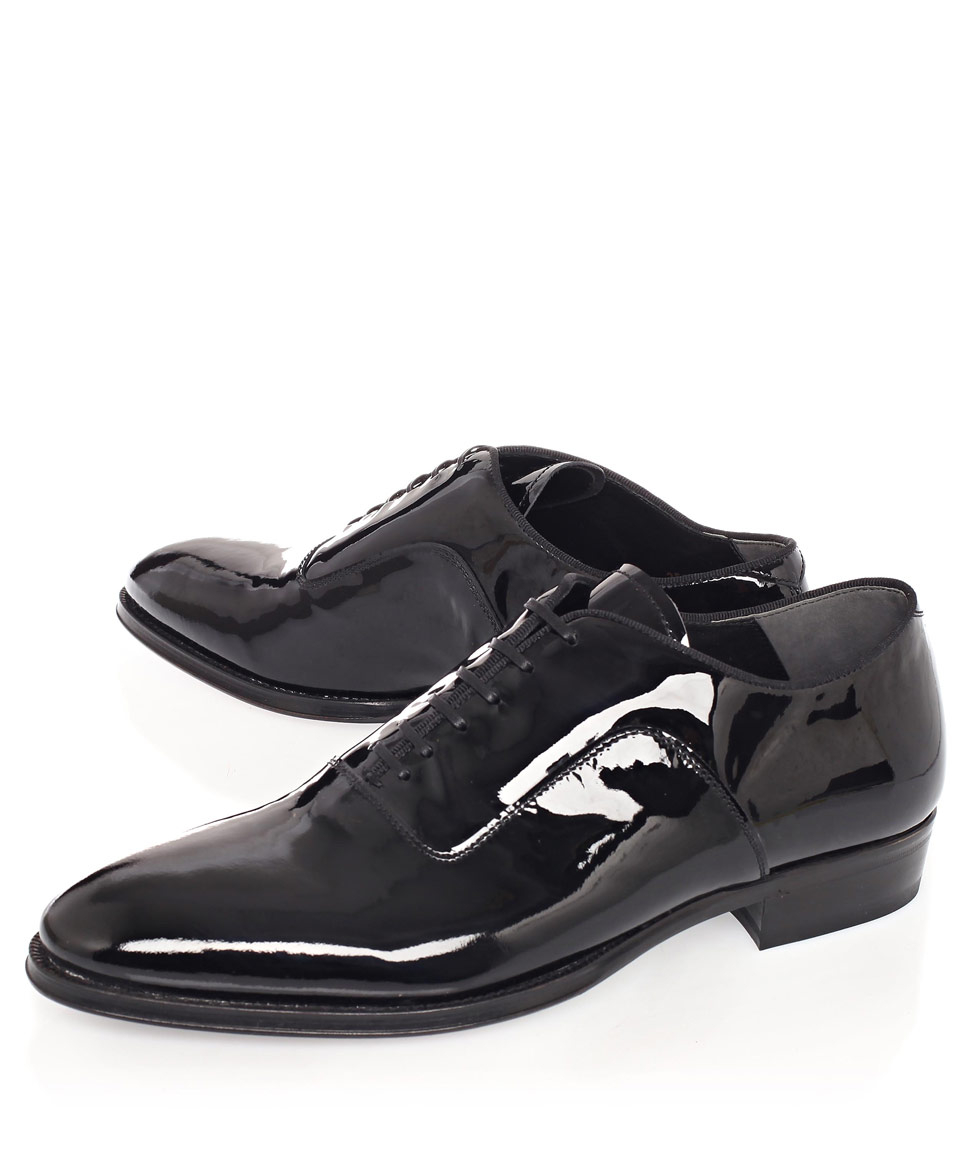 Lyst Alexander Mcqueen Black Patent Leather Oxford Shoes