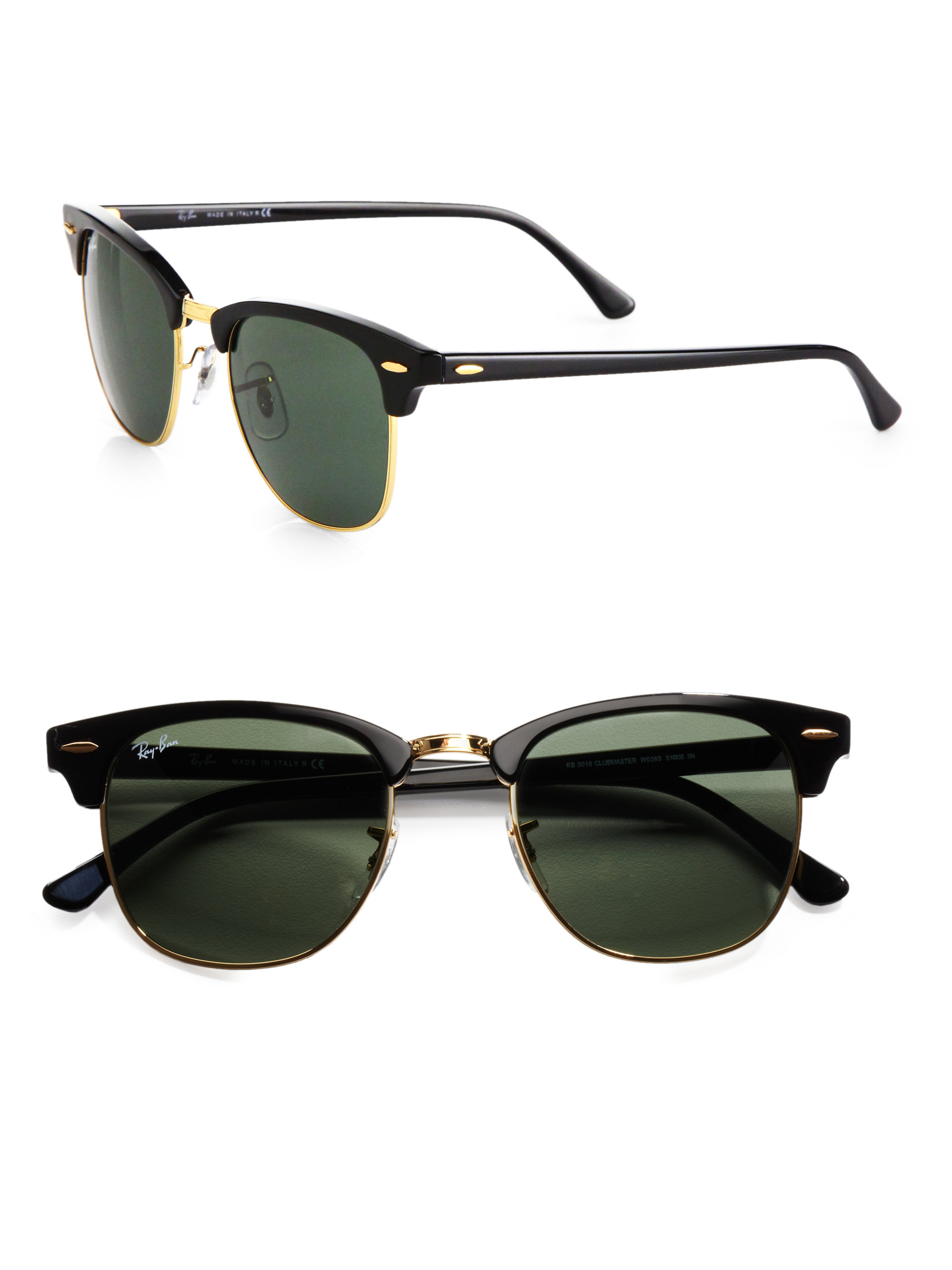 black and gold clubmaster sunglasses  Ray-ban Classic Clubmaster Sunglasses in Black for Men