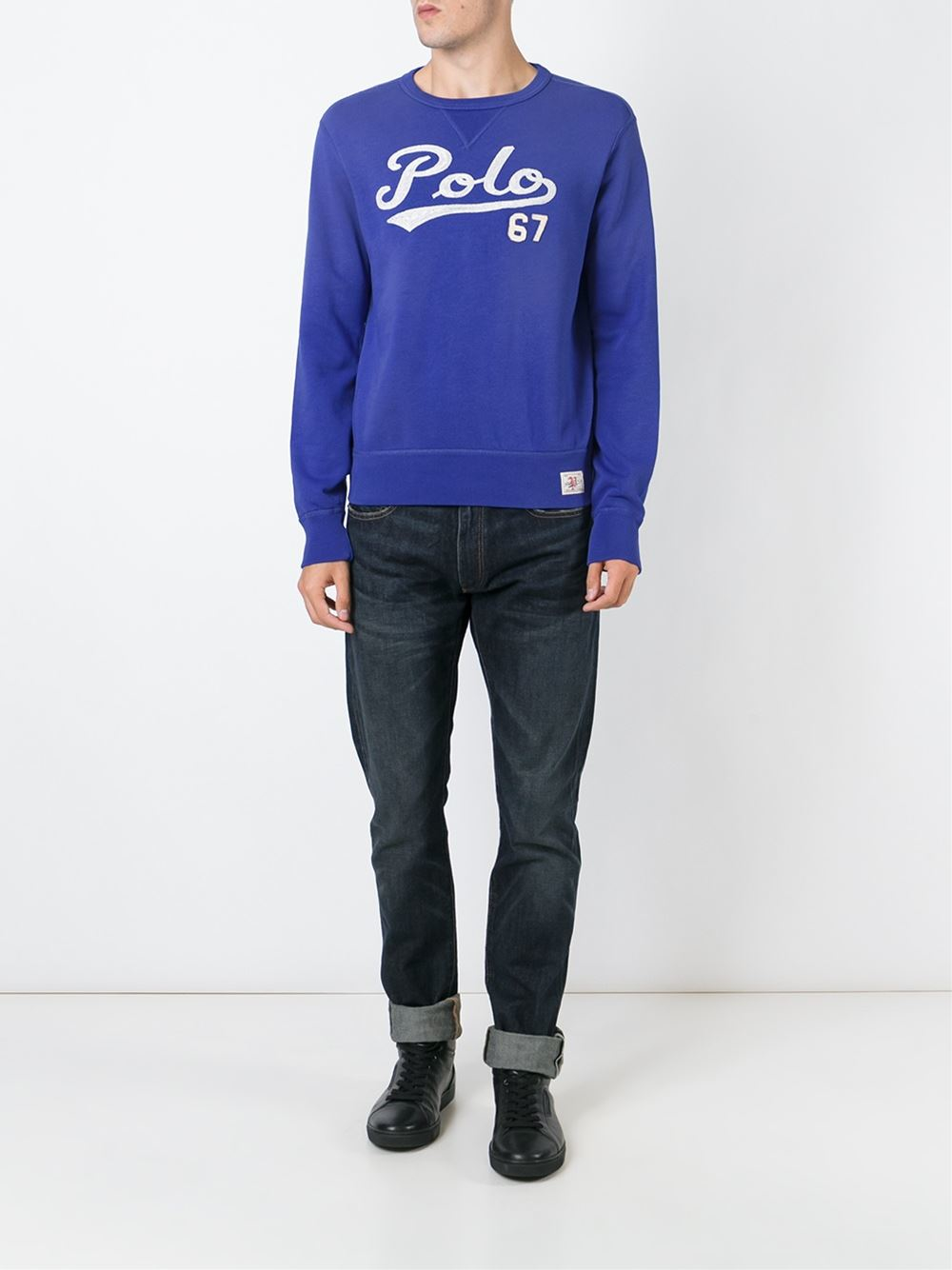 polo ralph lauren embroidered logo sweatshirt in blue for. Black Bedroom Furniture Sets. Home Design Ideas
