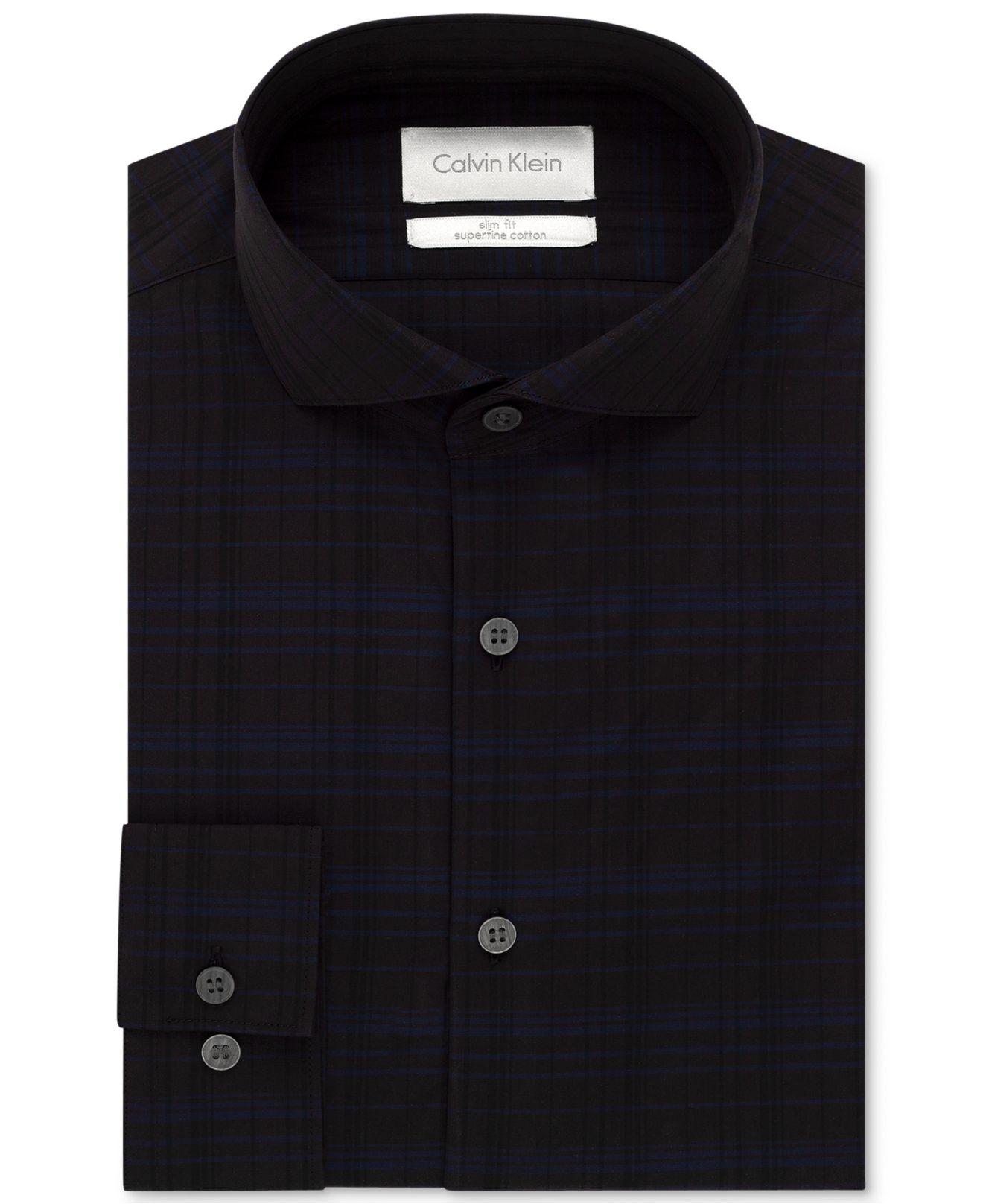 Lyst Calvin Klein Platinum Slim Fit Midnight Grid Dress Shirt In