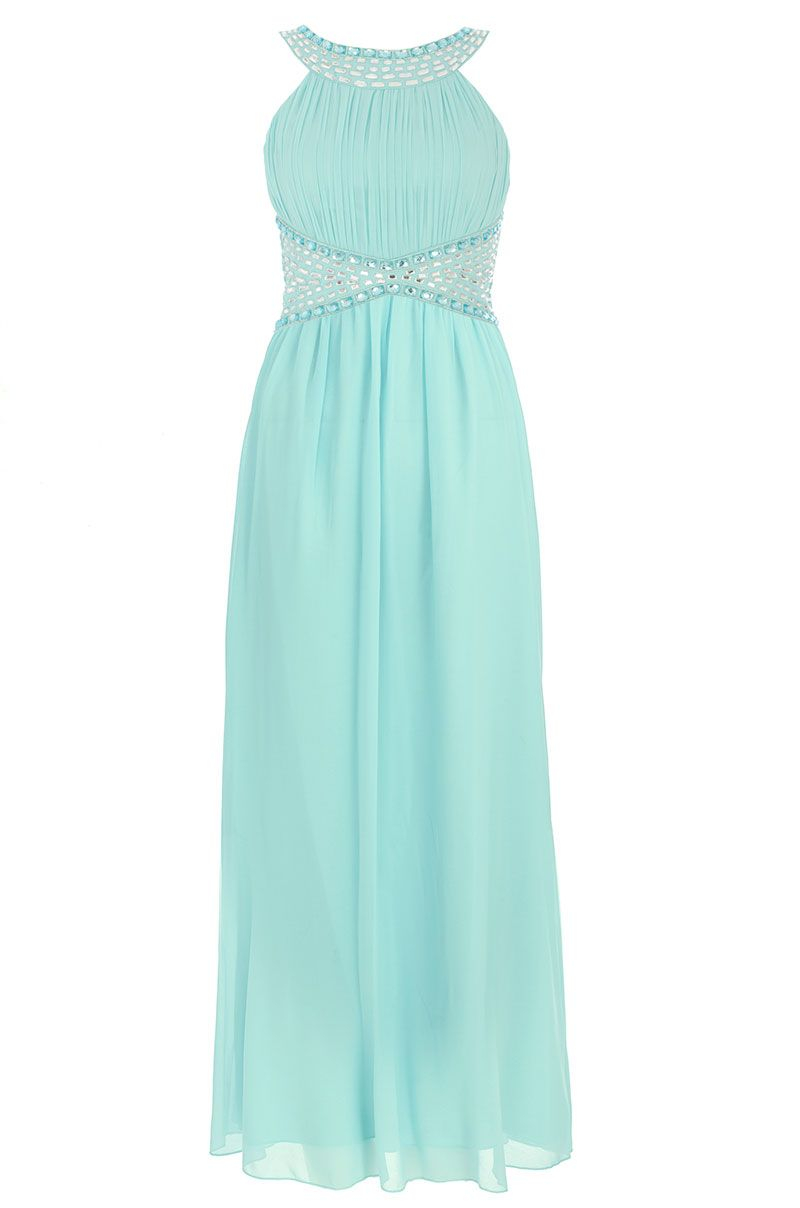 Quiz Chiffon Beaded Maxi Dress In Blue Lyst