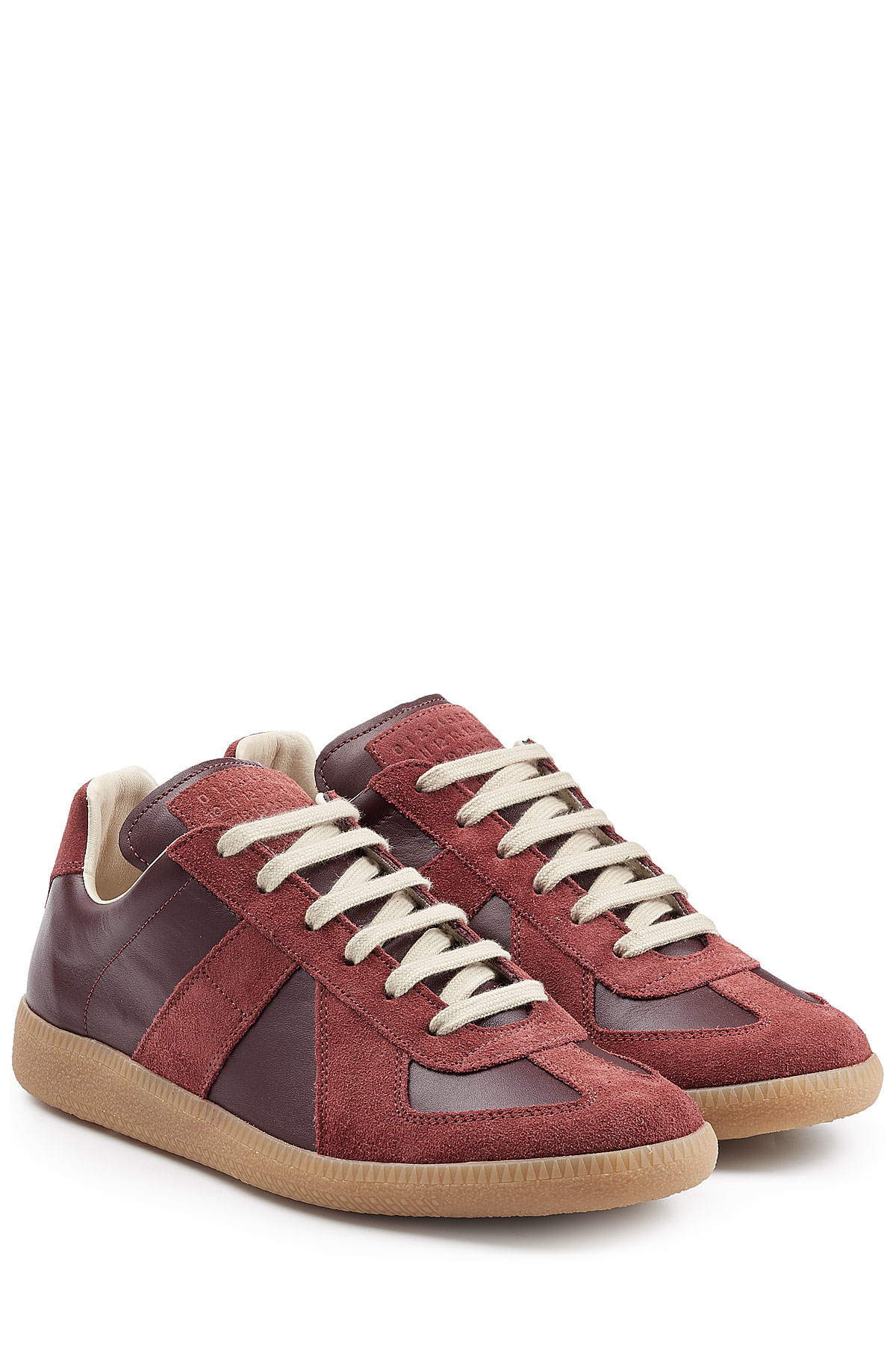 Lyst maison margiela future suede and leather low top for Maison