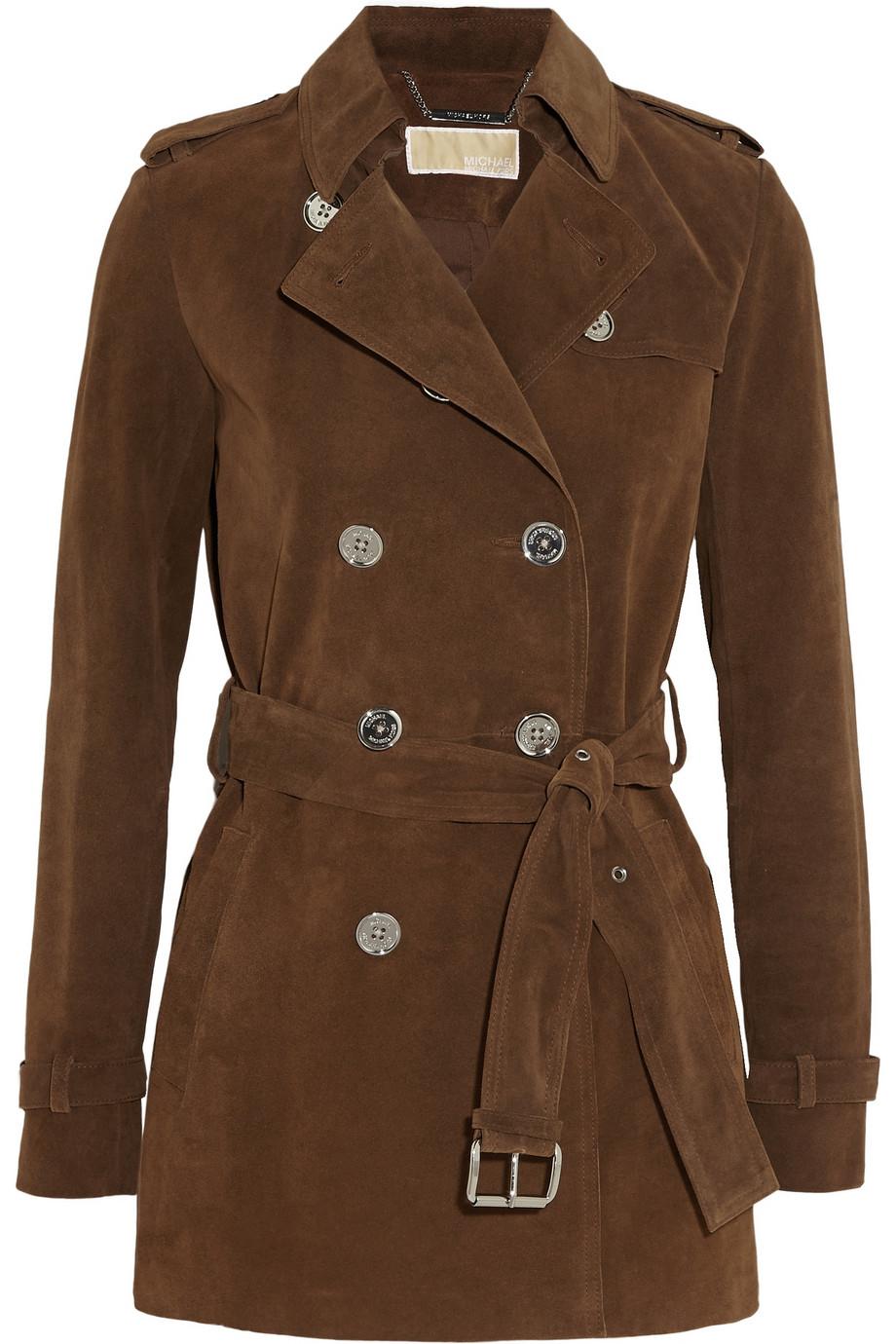 michael michael kors suede trench coat in brown lyst