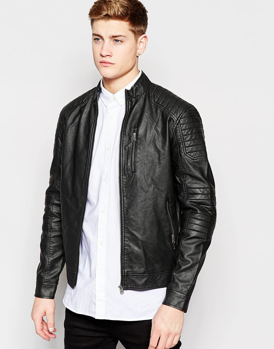 jack jones distressed faux leather biker jacket in black for men lyst. Black Bedroom Furniture Sets. Home Design Ideas