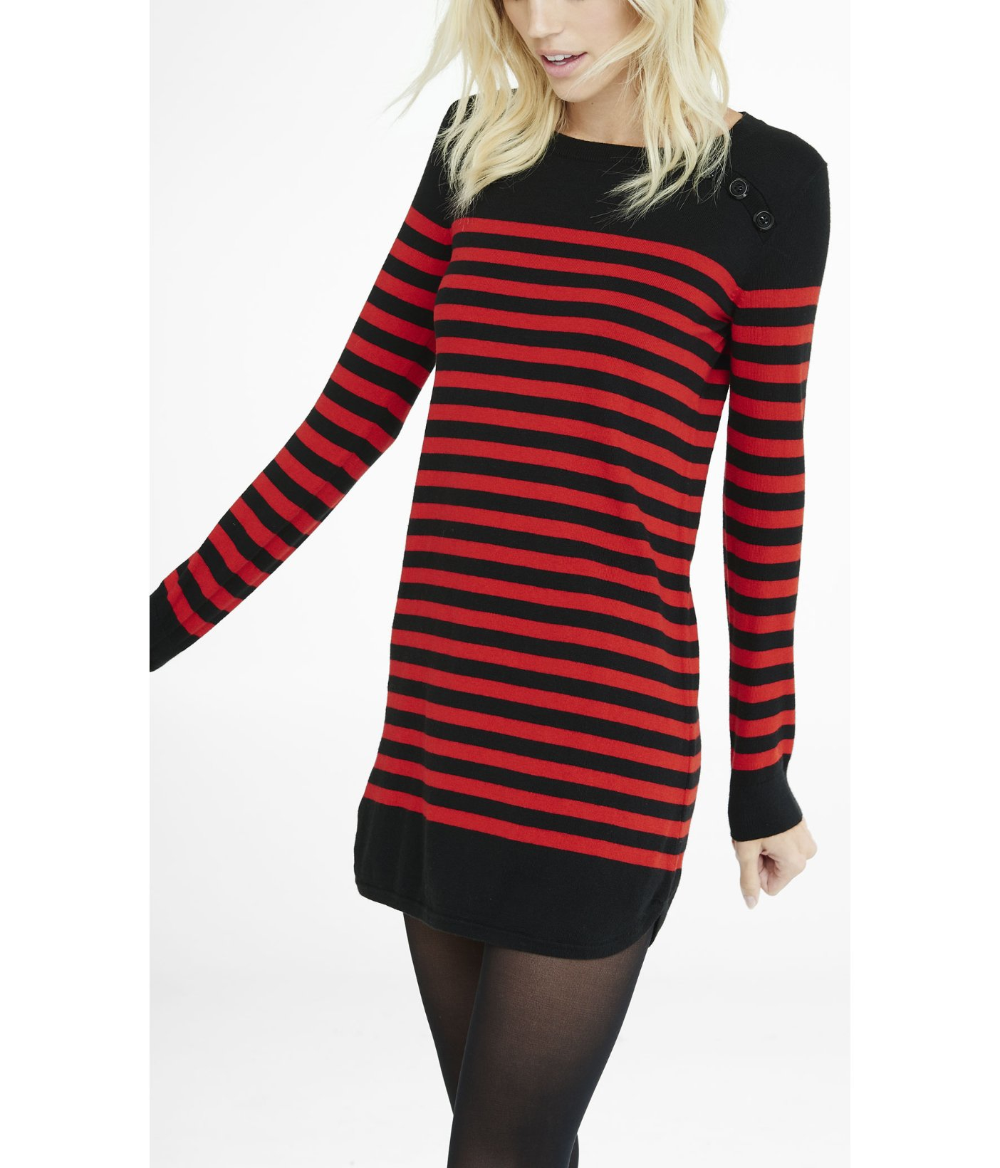 1373d71475 Lyst - Express Black And Red Striped Sweater Dress in Black