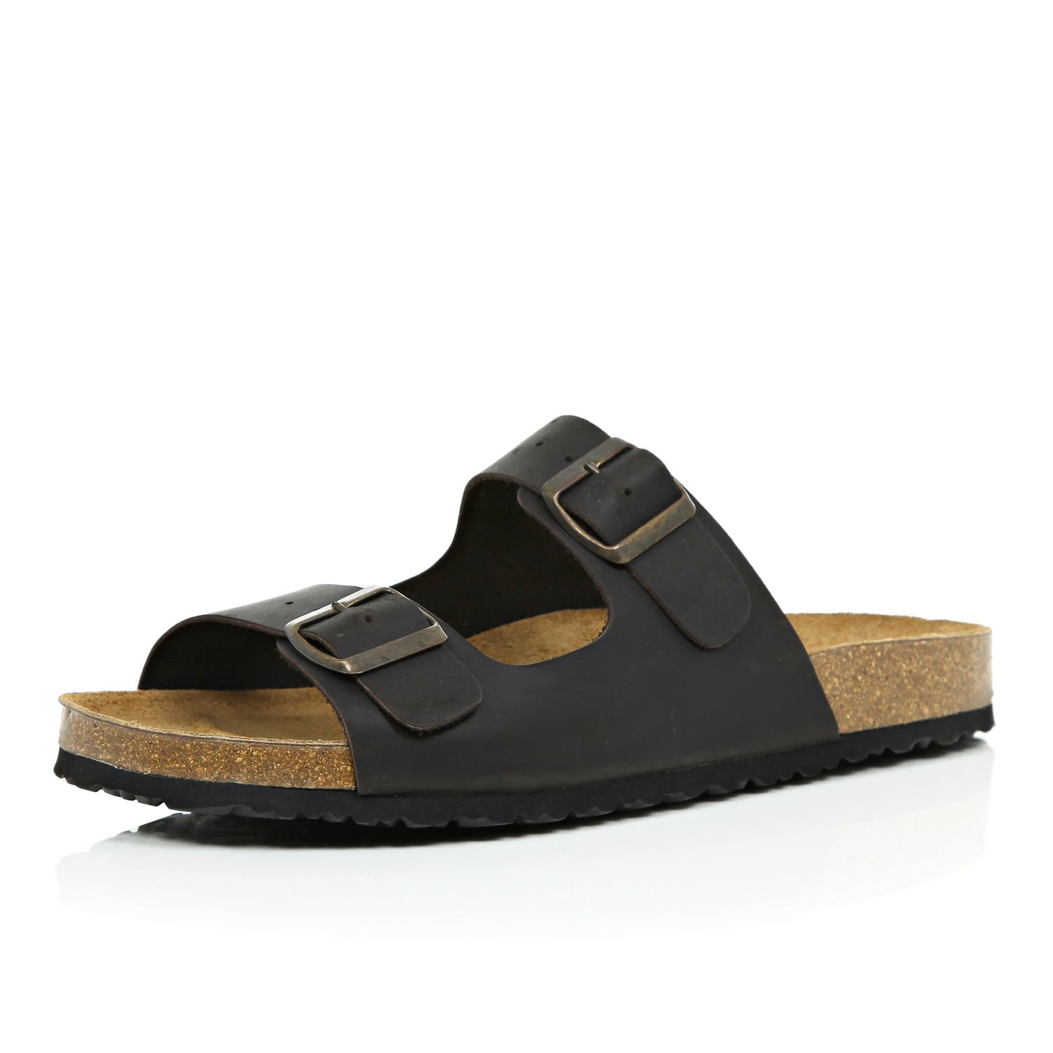 River Island Dark Brown Leather Double Buckle Sandals In