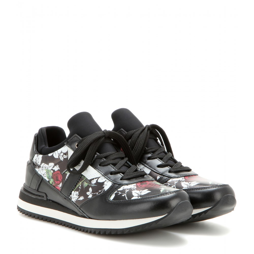 dolce gabbana floral leather and fabric sneakers in black lyst. Black Bedroom Furniture Sets. Home Design Ideas