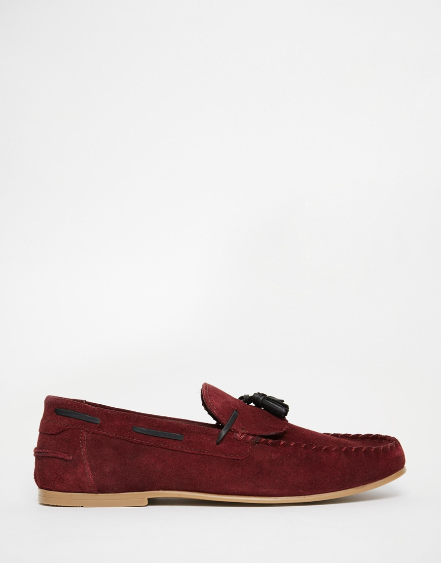6eac8d5ae73 Lyst - ASOS Tassel Loafers In Burgundy Suede With Fringe in Red for Men