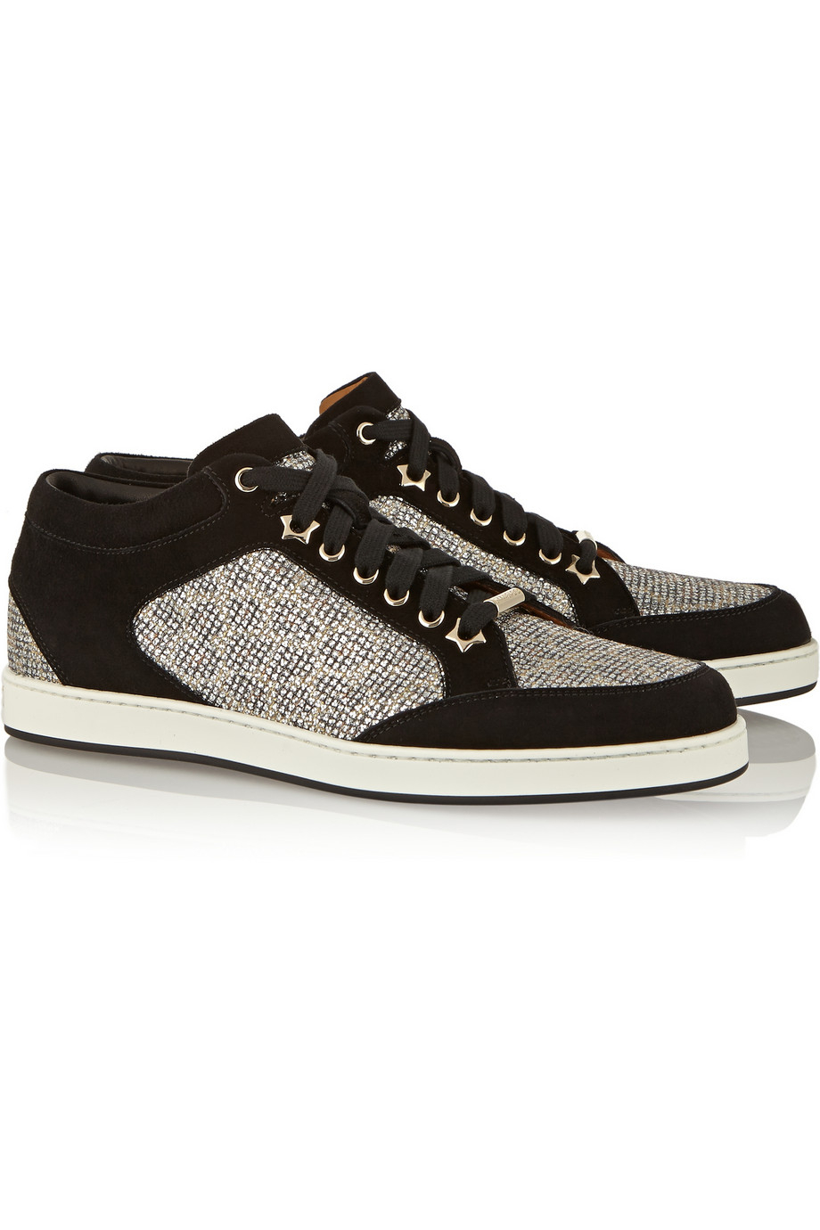 Jimmy choo Miami Lace-Paneled Suede Sneakers in Metallic ...