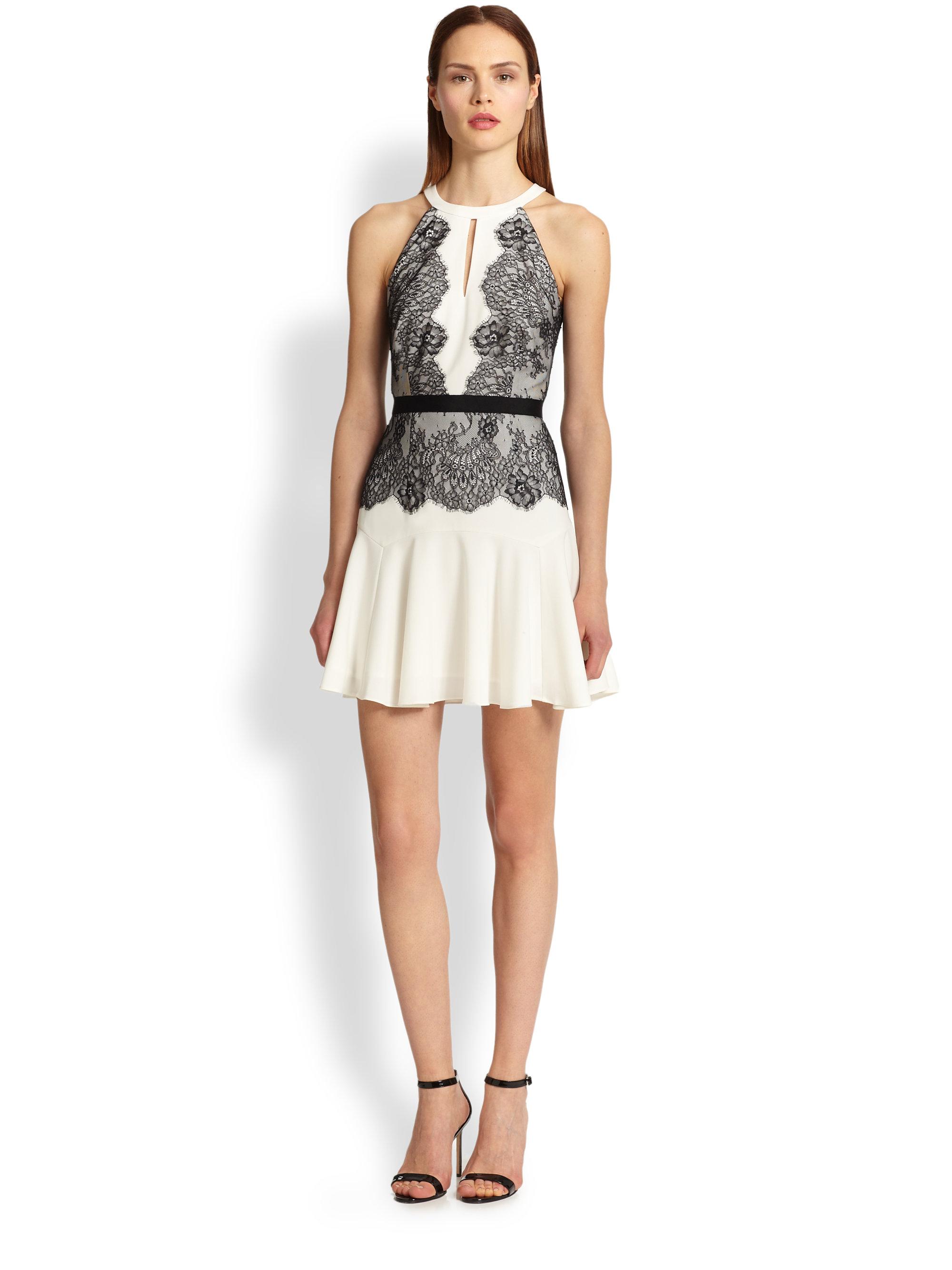 2cbd89179045 bcbg white dress with black lace – Little Black Dress | Black Lace ...