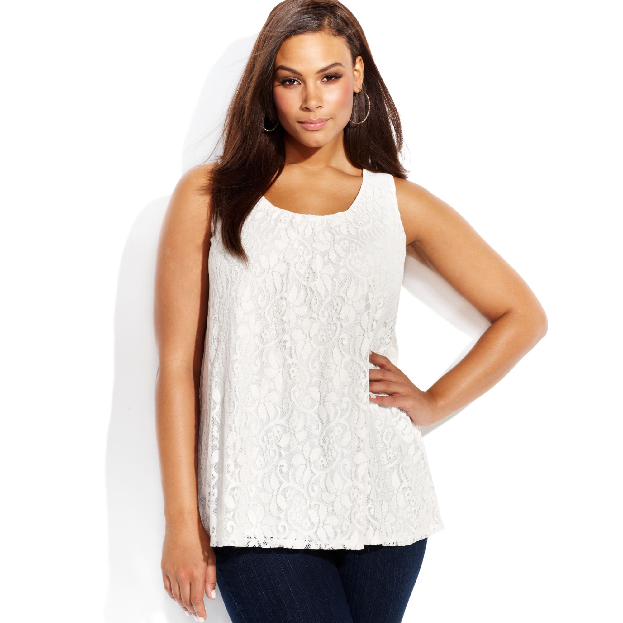 a5bab77c258 INC International Concepts Plus Size Sleeveless Lace Tank Top in ...
