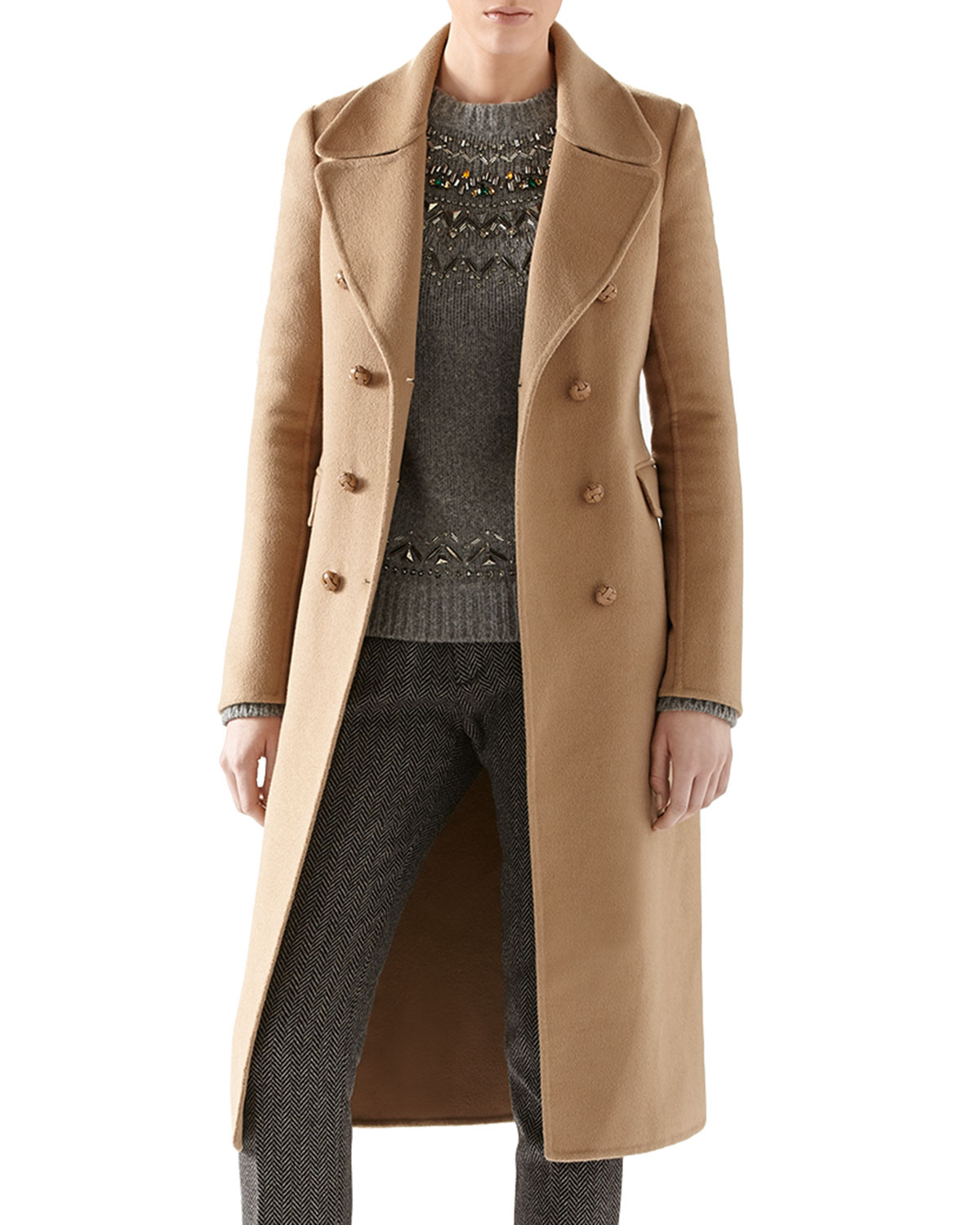 3ca81525217 Lyst - Gucci Double Wool Belted Coat in Brown