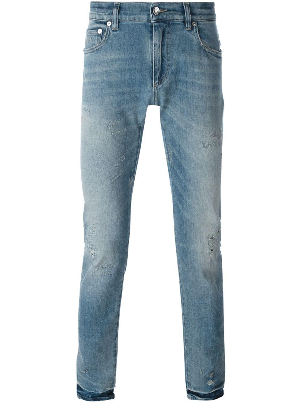 dolce gabbana distressed jeans in blue for men save 40. Black Bedroom Furniture Sets. Home Design Ideas