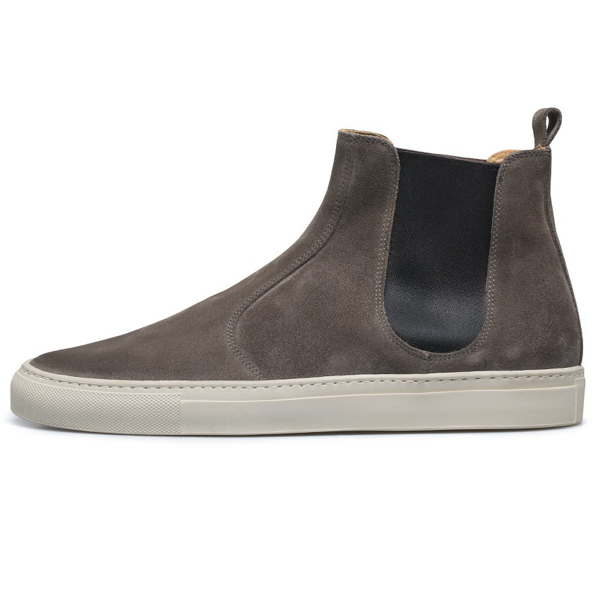 buttero grey suede chelsea boots in gray for lyst