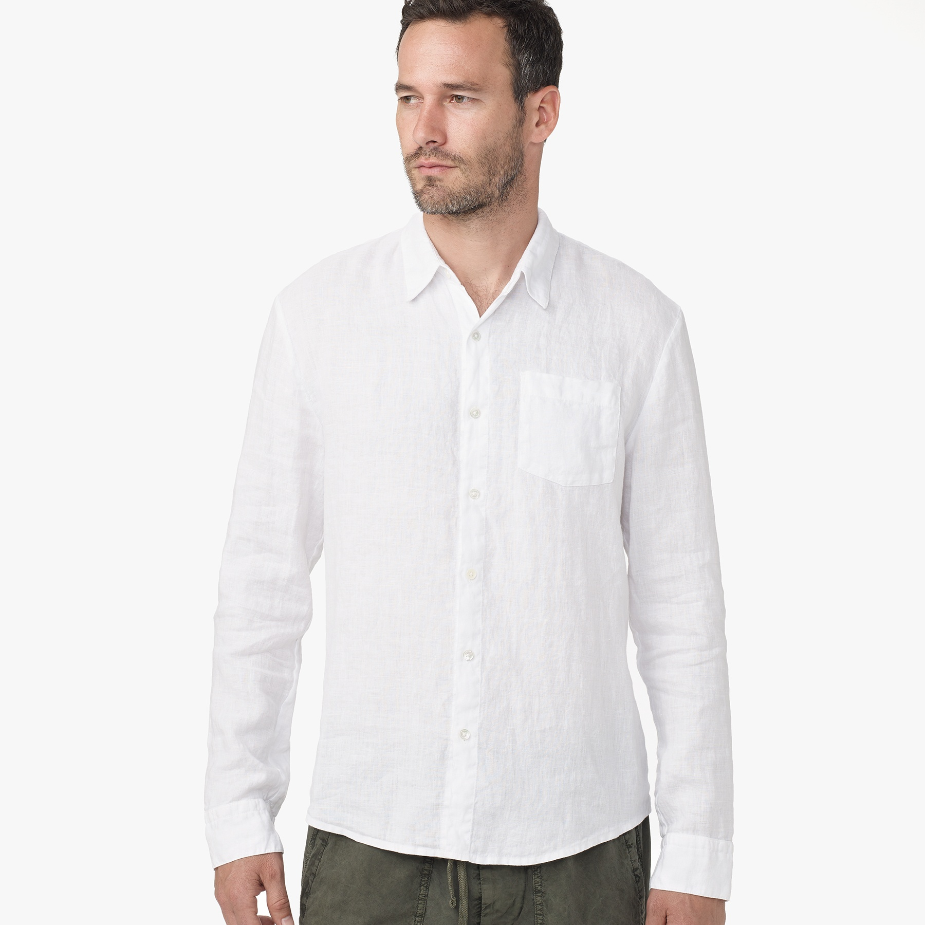 James Perse Canvas Linen Shirt In White For Men Driftwood