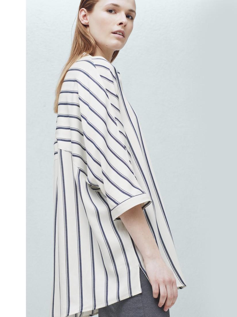 7d84816660 Mango Oversized Striped Shirt in Blue - Lyst