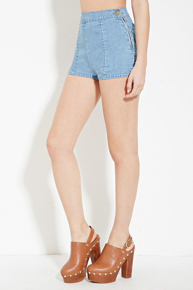 Forever 21 Flat-front Denim Shorts in Blue