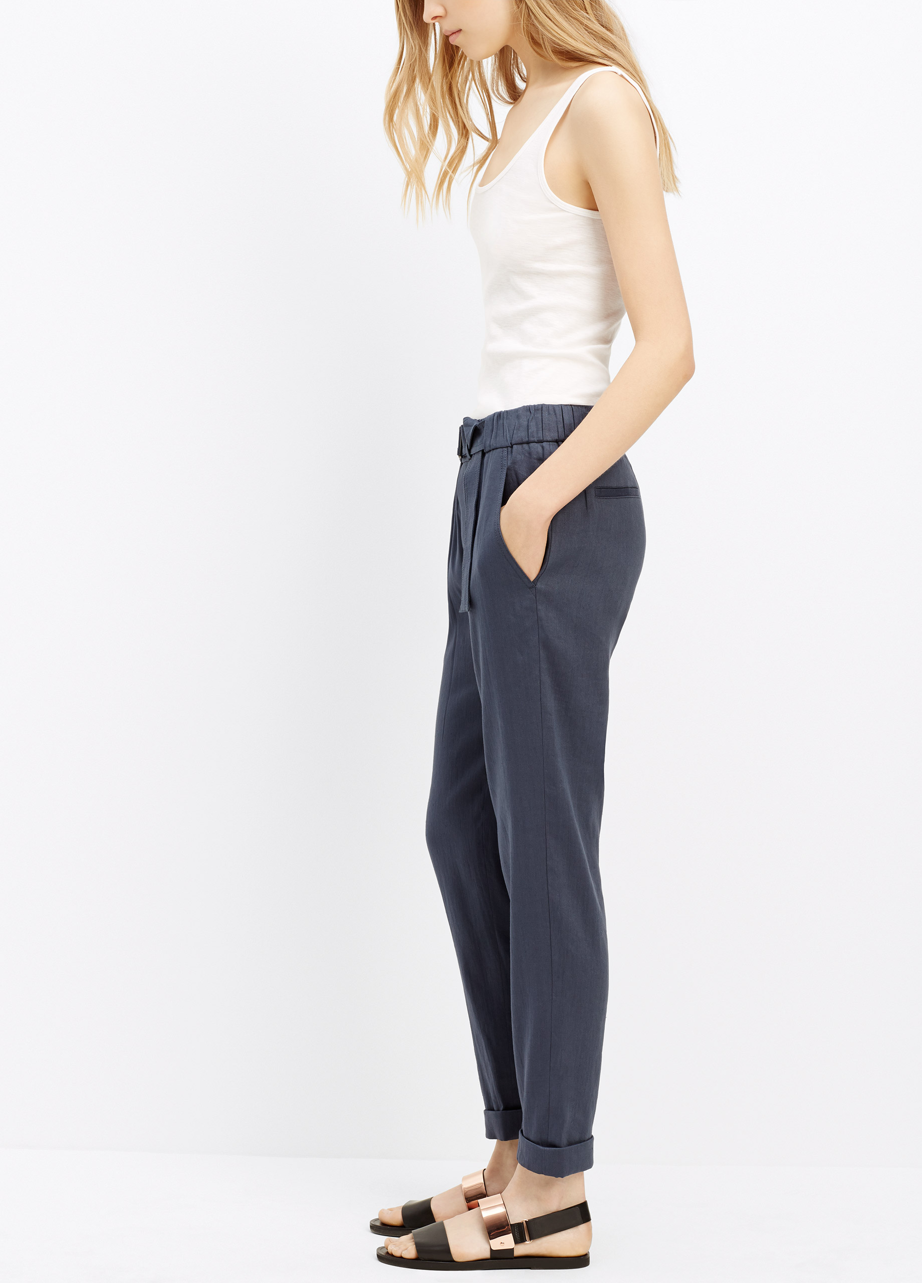 2570fa1d6b Lyst - Vince Belted Linen Pant in Blue