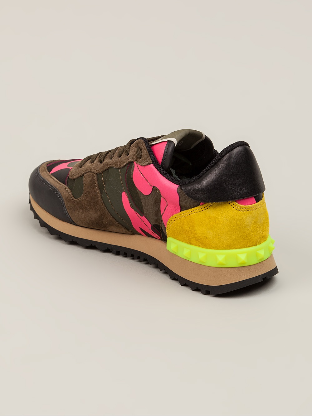 5ed275cad1 Lyst - Valentino Rockstud Sneaker in Pink