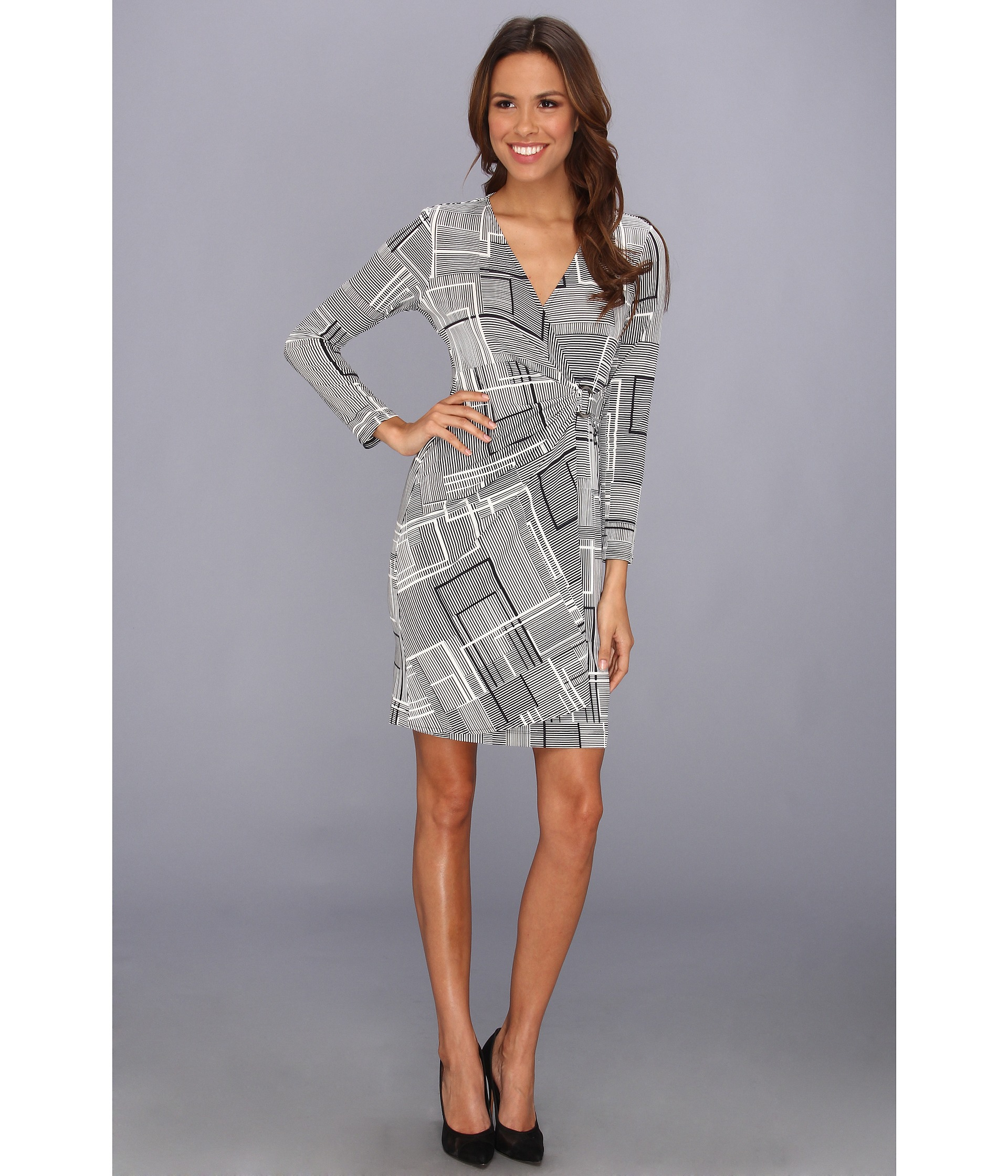 Donna Morgan V Neck Wrap Dress With Long Sleeves In Black