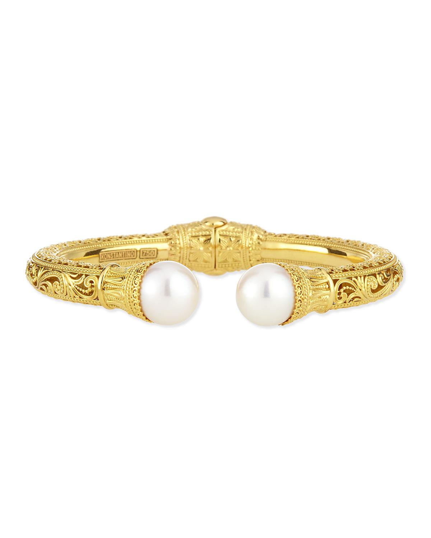 Konstantino Silver & 18k Gold Pearl-Tip Hinge Bracelet JzVt9OZNNn