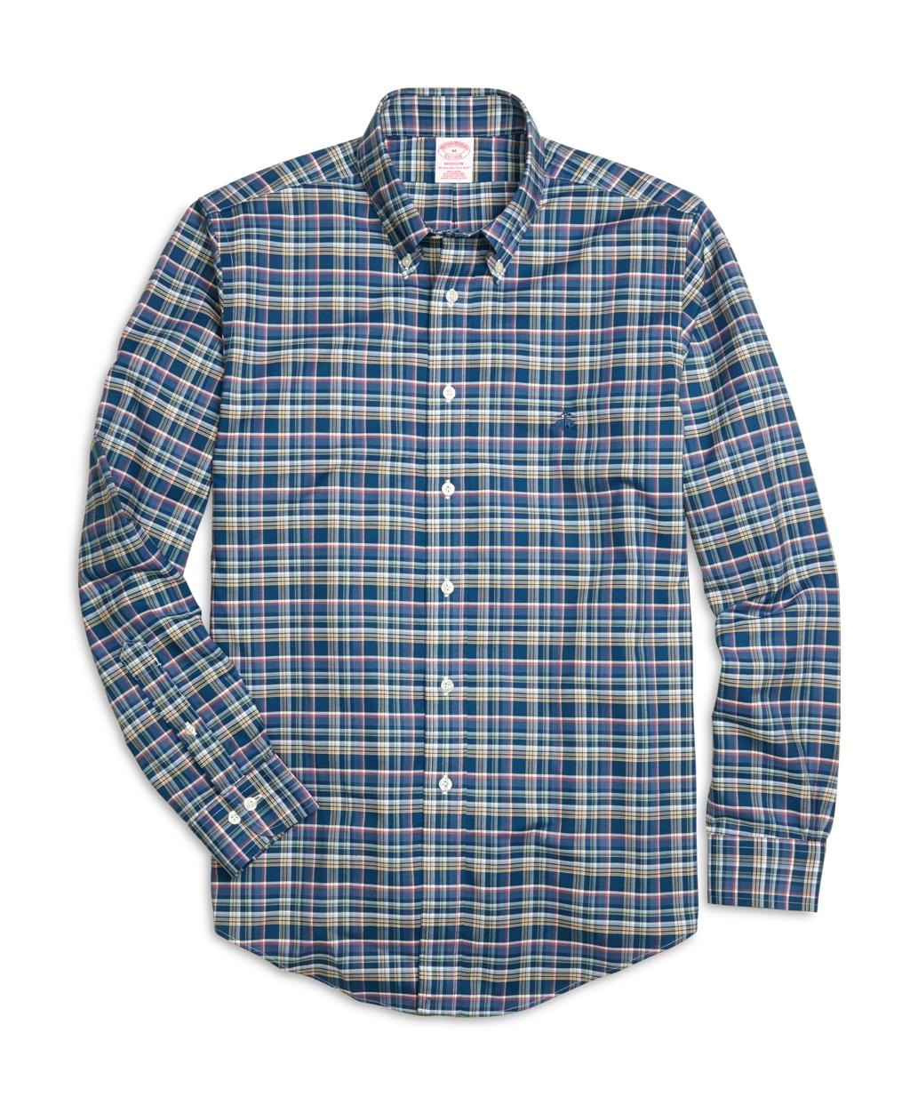 Brooks brothers non iron milano fit multiplaid sport shirt for Brooks brothers non iron shirts review