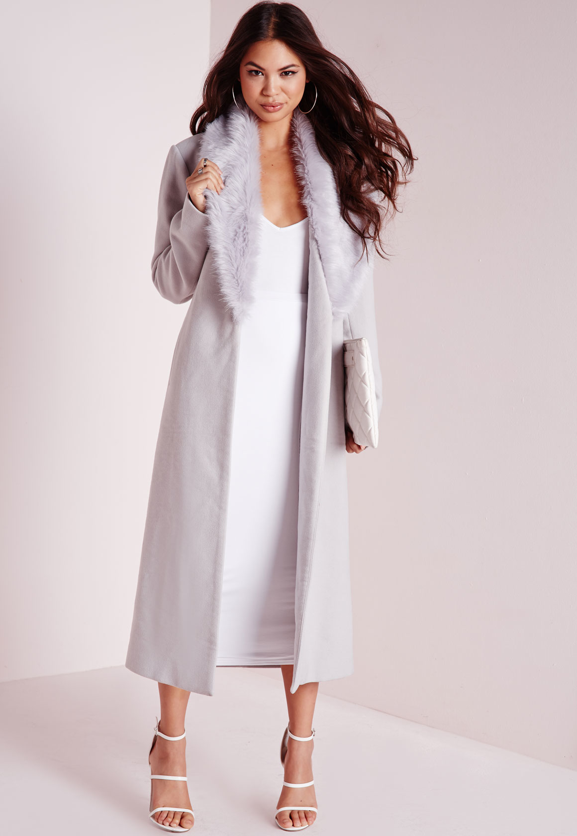 Missguided Longline Faux Wool Coat With Faux Fur Collar Grey in ...