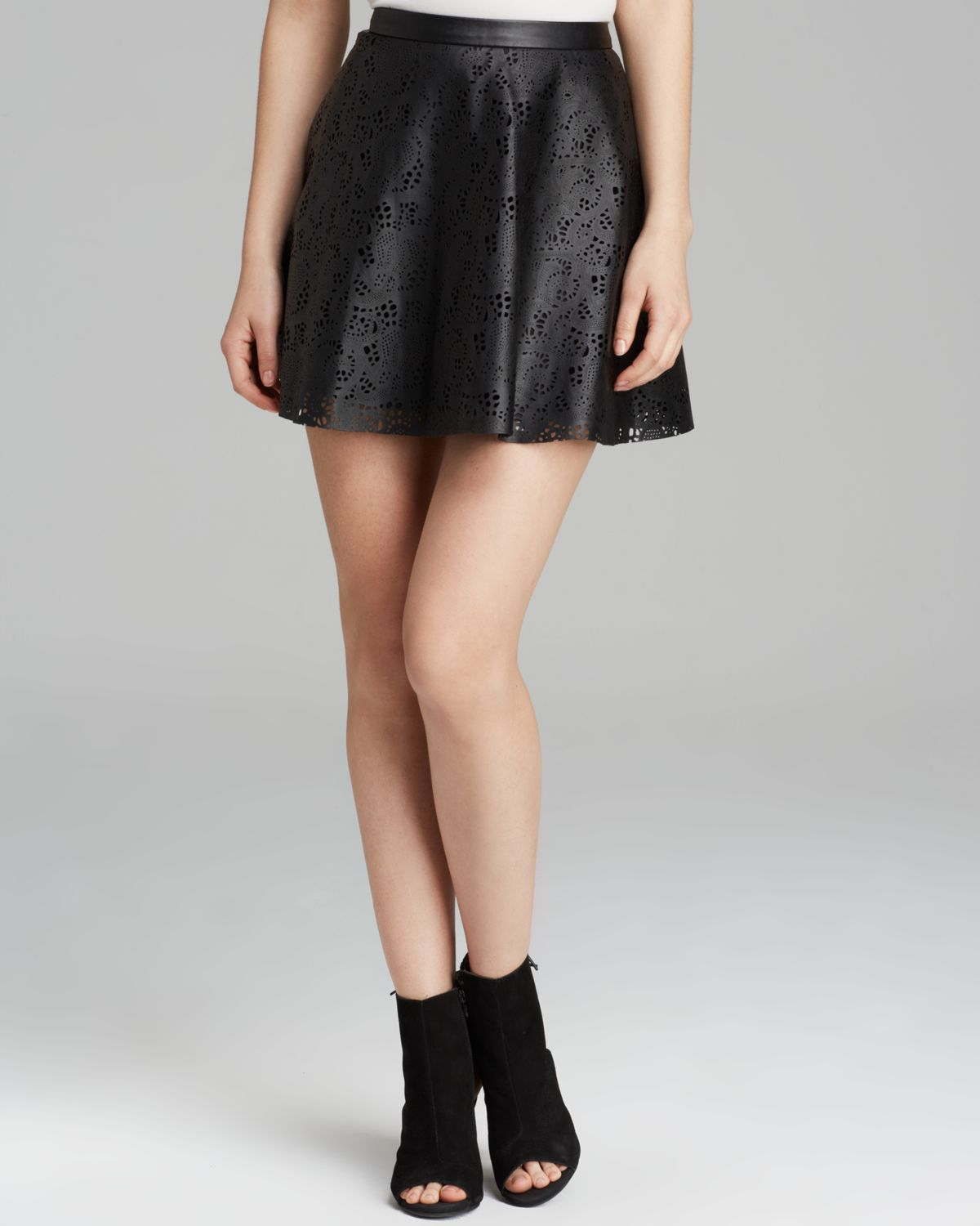 guess skirt laser cut faux leather circle in black lyst