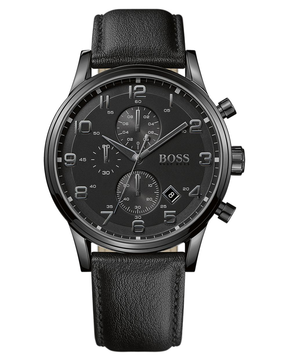 Boss Men S Chronograph Black Leather Strap 44mm 1512567 In