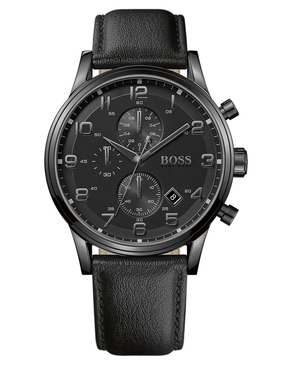 Boss men 39 s chronograph black leather strap 44mm 1512567 in black for men save 68 lyst for Black leather strap men