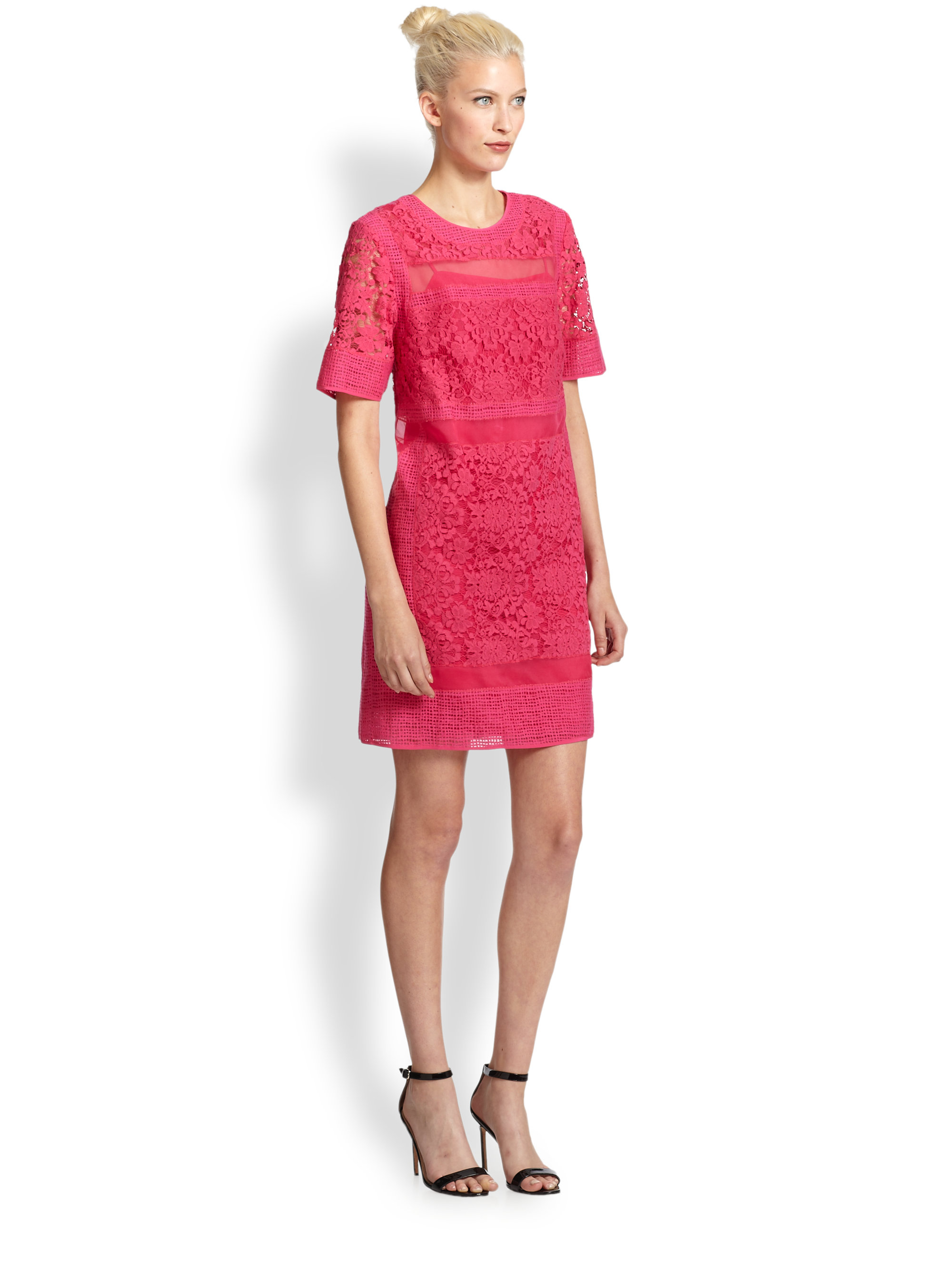 Rebecca taylor Silk Sheer-Striped Lace Dress in Pink  Lyst
