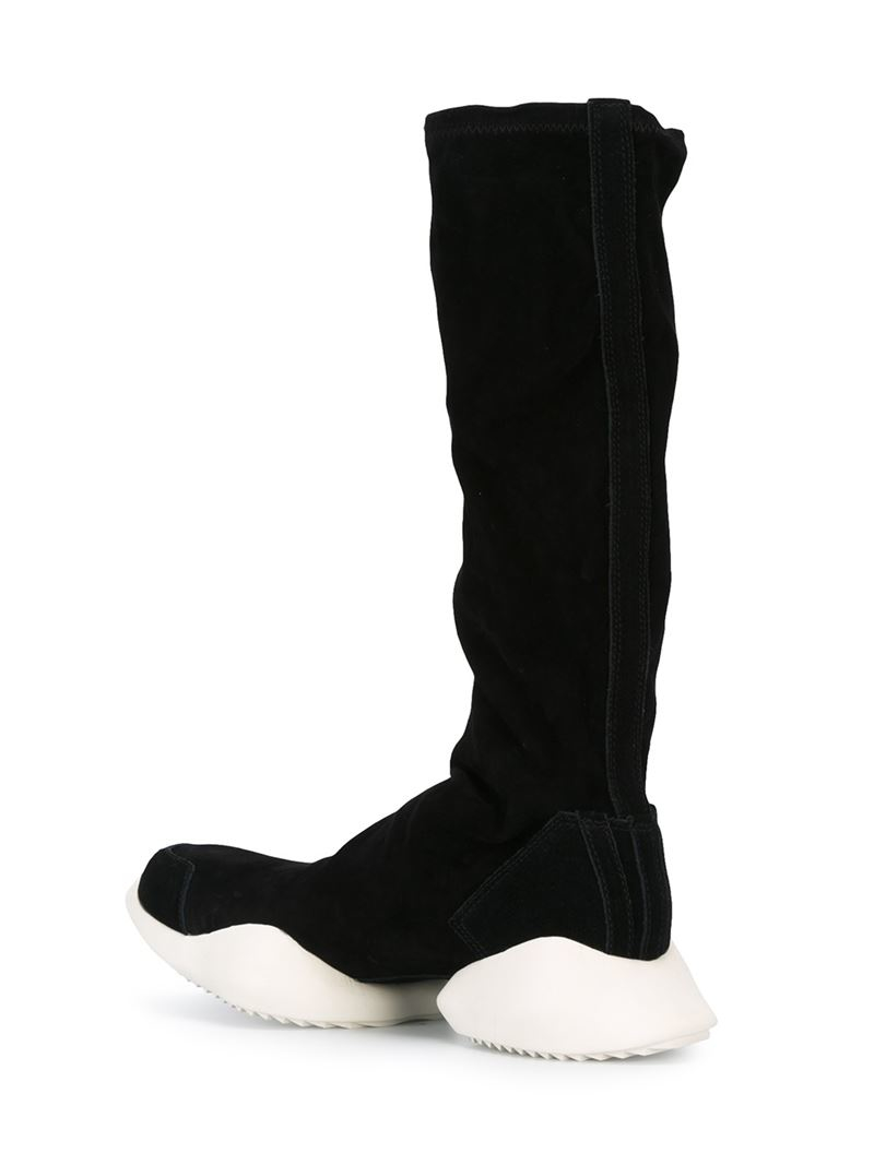 a793a11a7d8 Lyst - Rick Owens Tech Runner Leather Knee-High Boots in Black