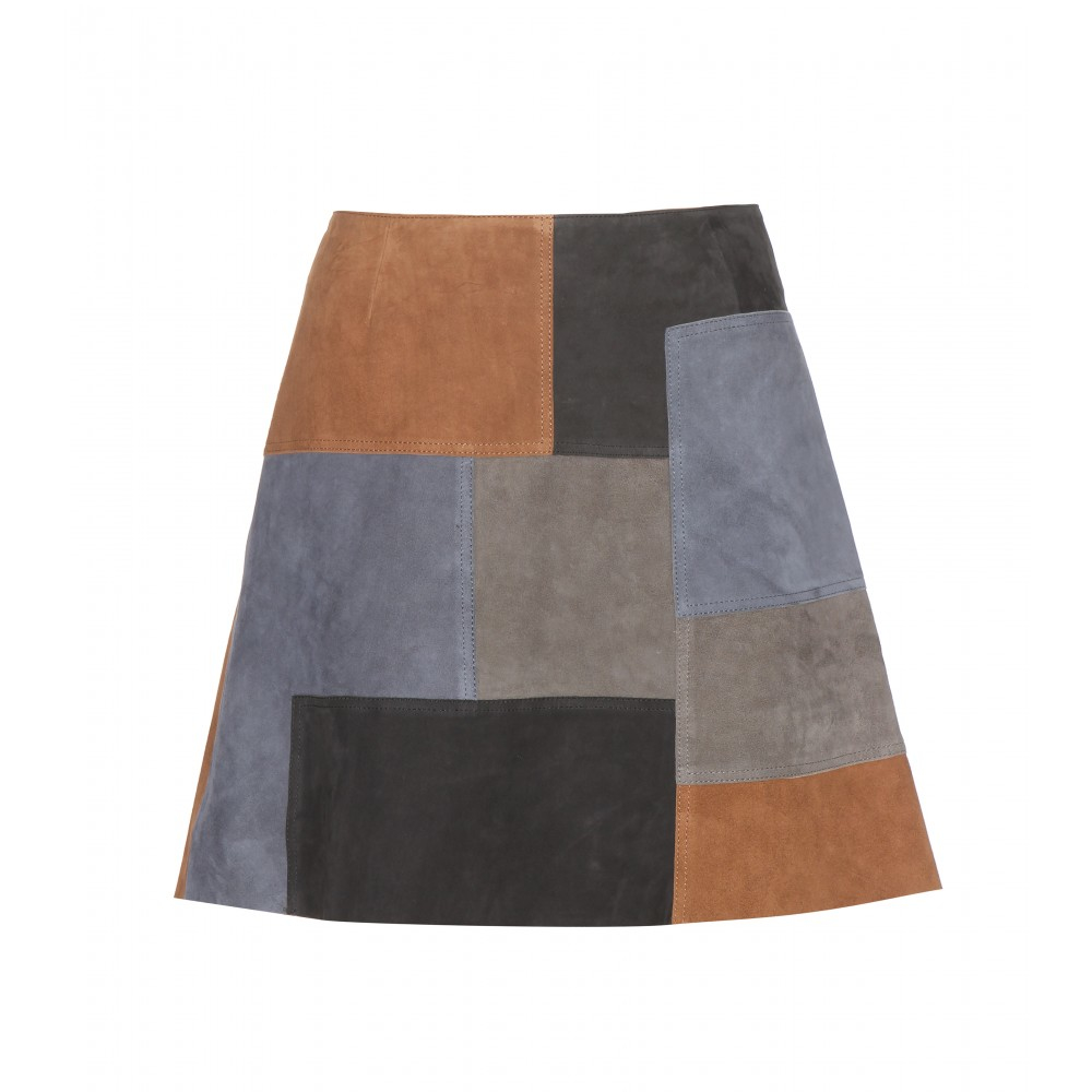 M.i.h jeans Patchwork Suede Skirt in Blue | Lyst