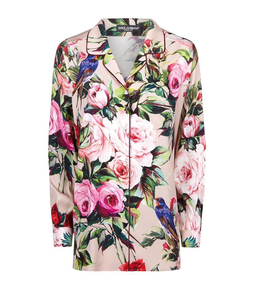 9e39eb4d3dbadf Dolce   Gabbana Rose Print Silk Pyjama Shirt in Natural - Lyst