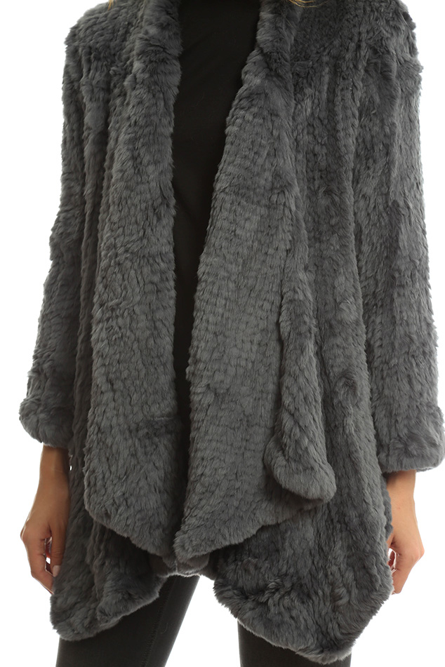 Lyst H Brand Ashleigh Rabbit Fur Coat In Gray