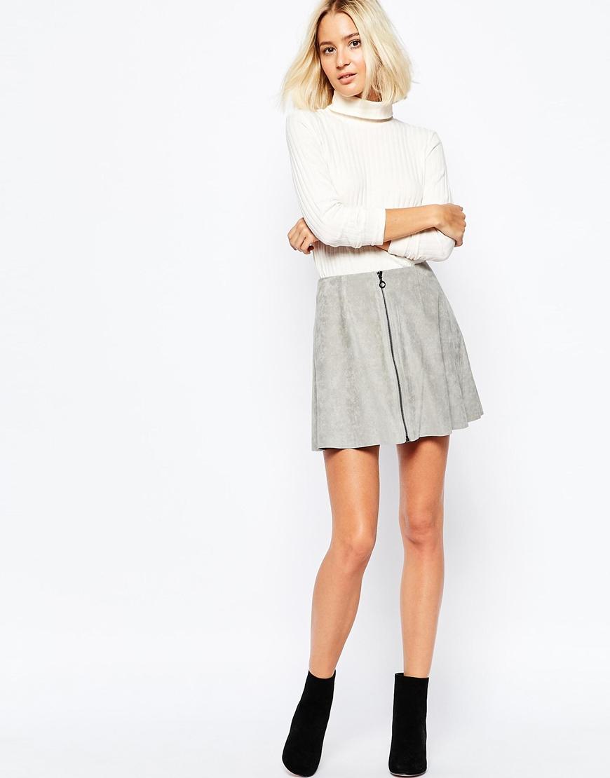 Vero moda Zip Front A-line Skirt in Gray | Lyst