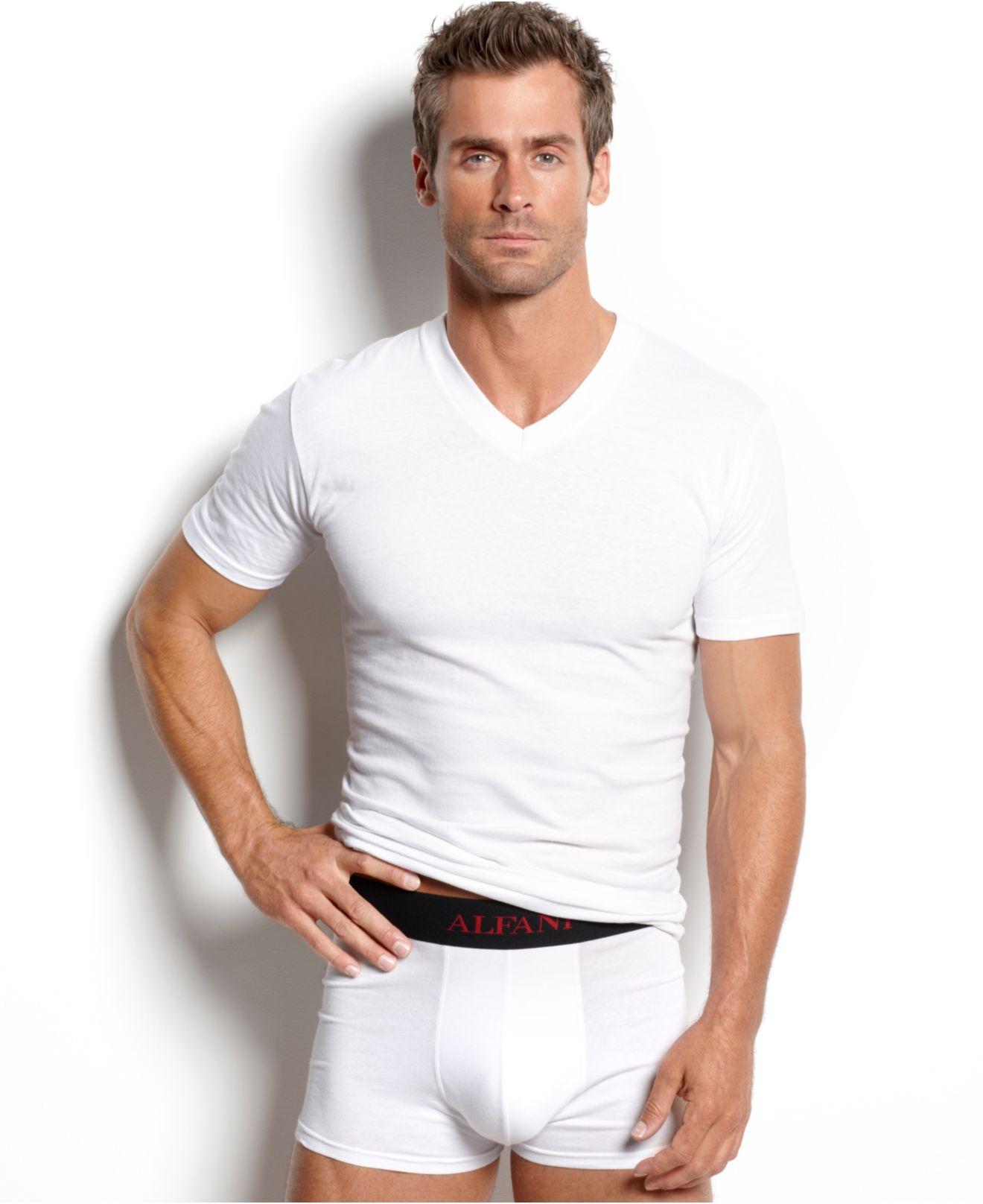 Alfani underwear big v neck t shirt 3 pack in white for for White v neck shirt mens