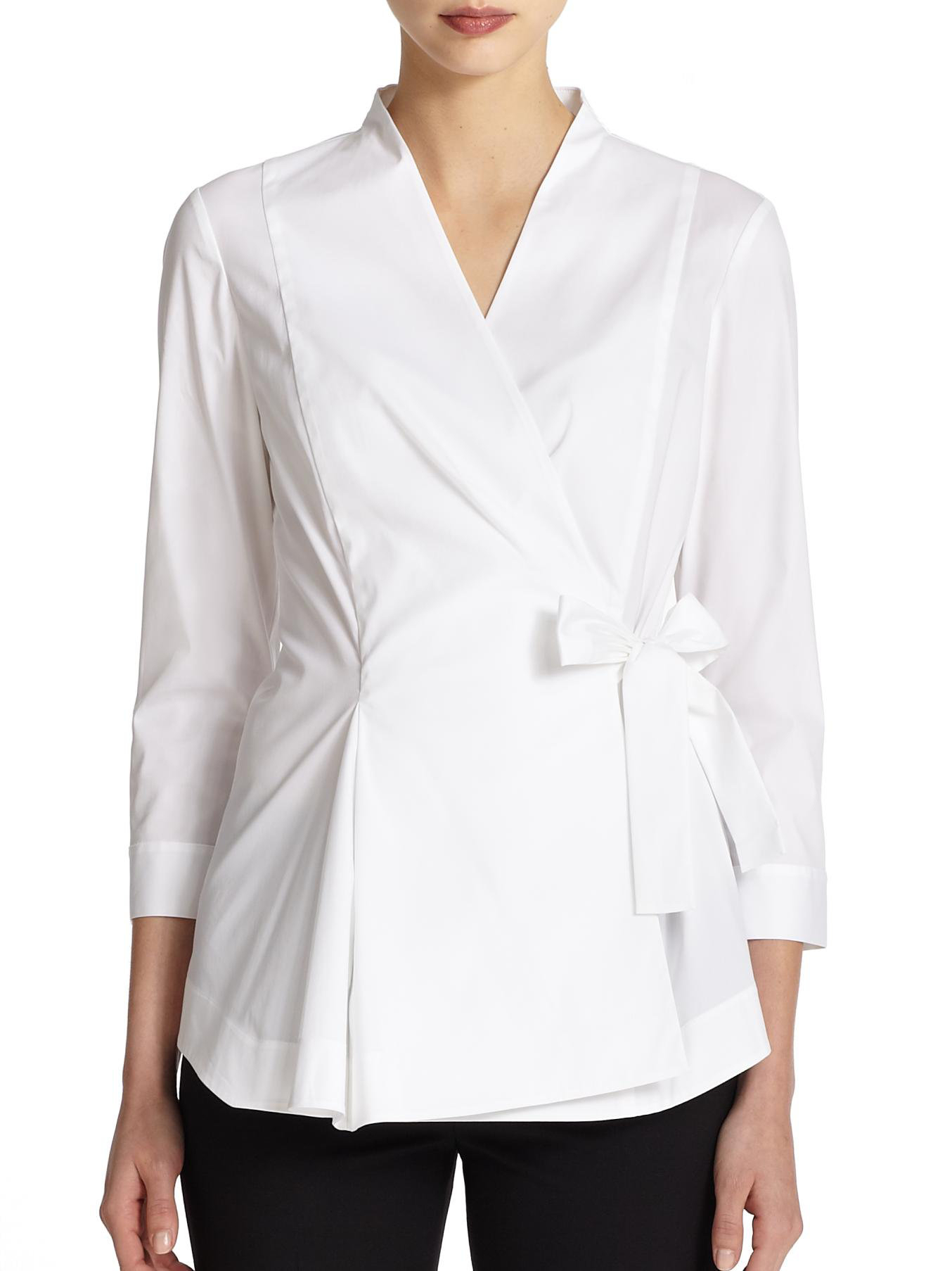 Lafayette 148 new york Stretch Cotton Wrap Blouse in White | Lyst