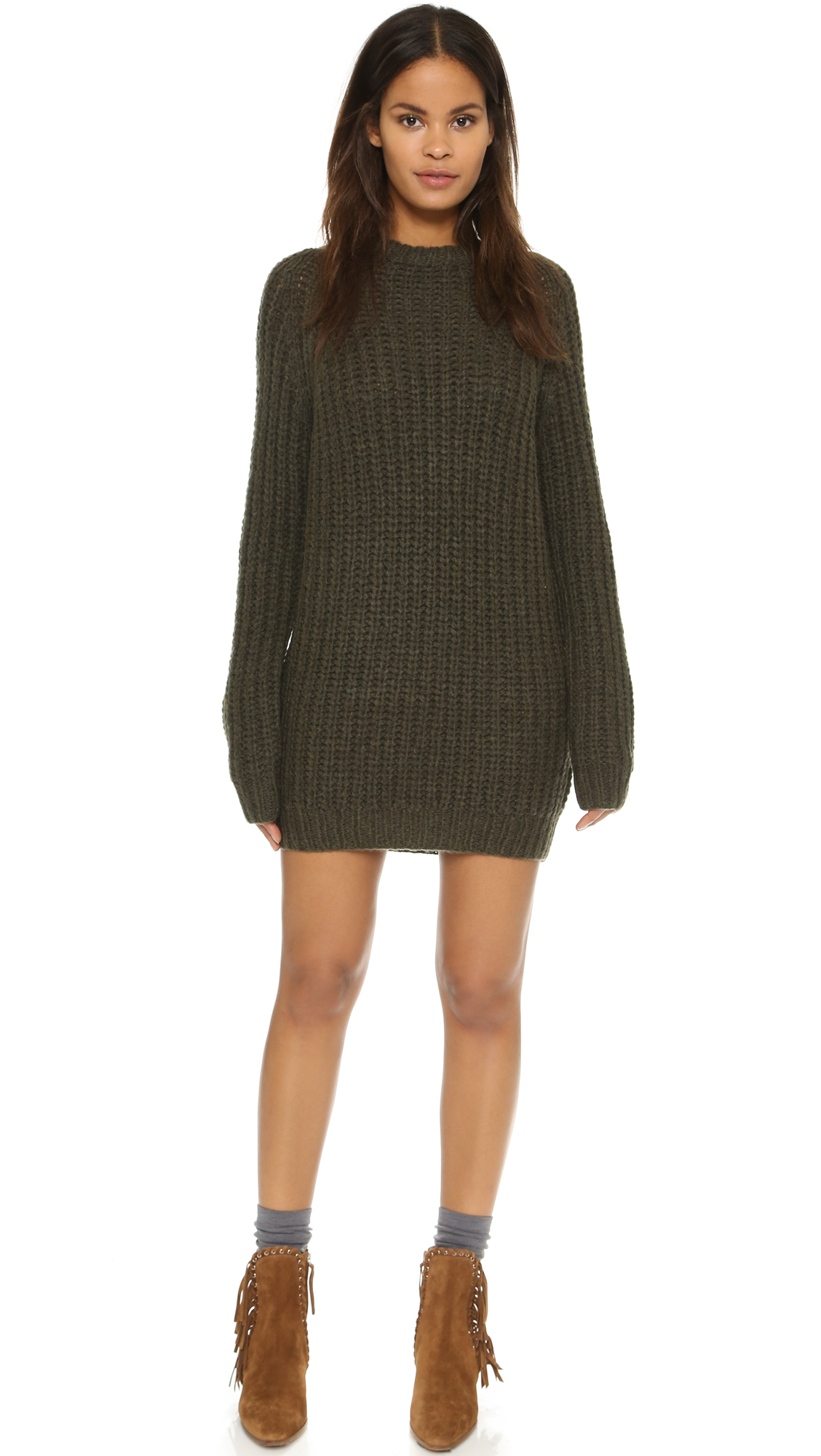 772909006 Lyst - NLST Fisherman Sweater Dress - Olive Drab in Green