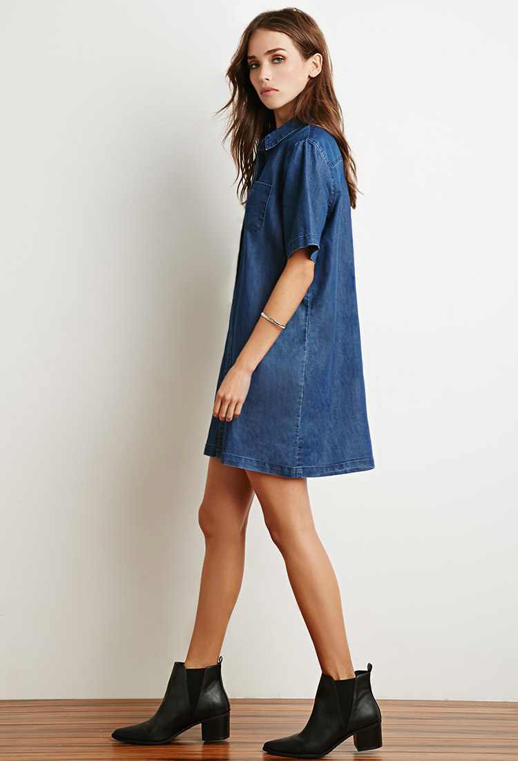 b4bd0105984 Lyst - Forever 21 Boxy Denim Shirt Dress in Blue
