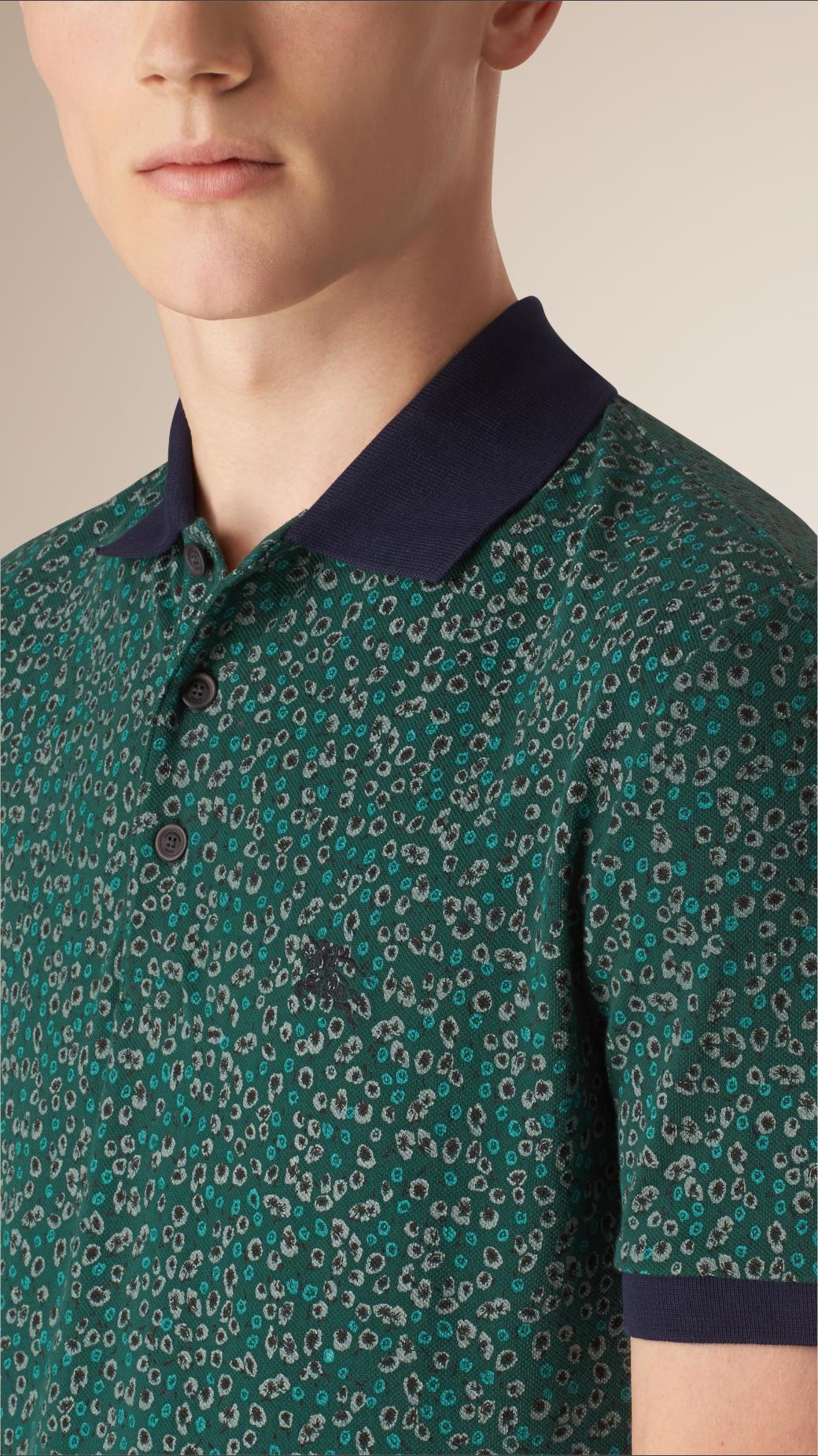 b89baa1cafe6a Burberry Abstract Print Piqué Cotton Polo Shirt Mineral Green in ...