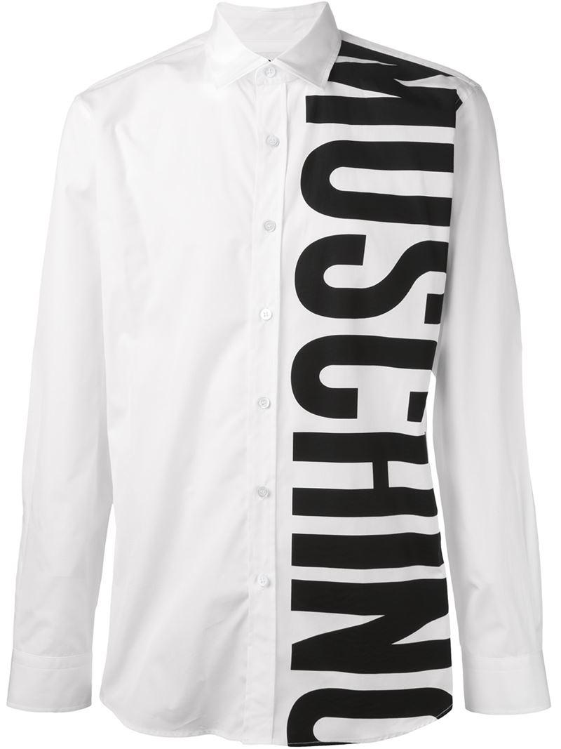 03c40d3c286 Lyst - Moschino Logo Print Shirt in White for Men