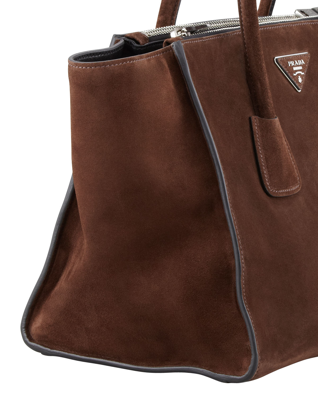 97727ddd8561 ... reduced prada suede twin pocket tote bag in brown lyst 364cc 5af24