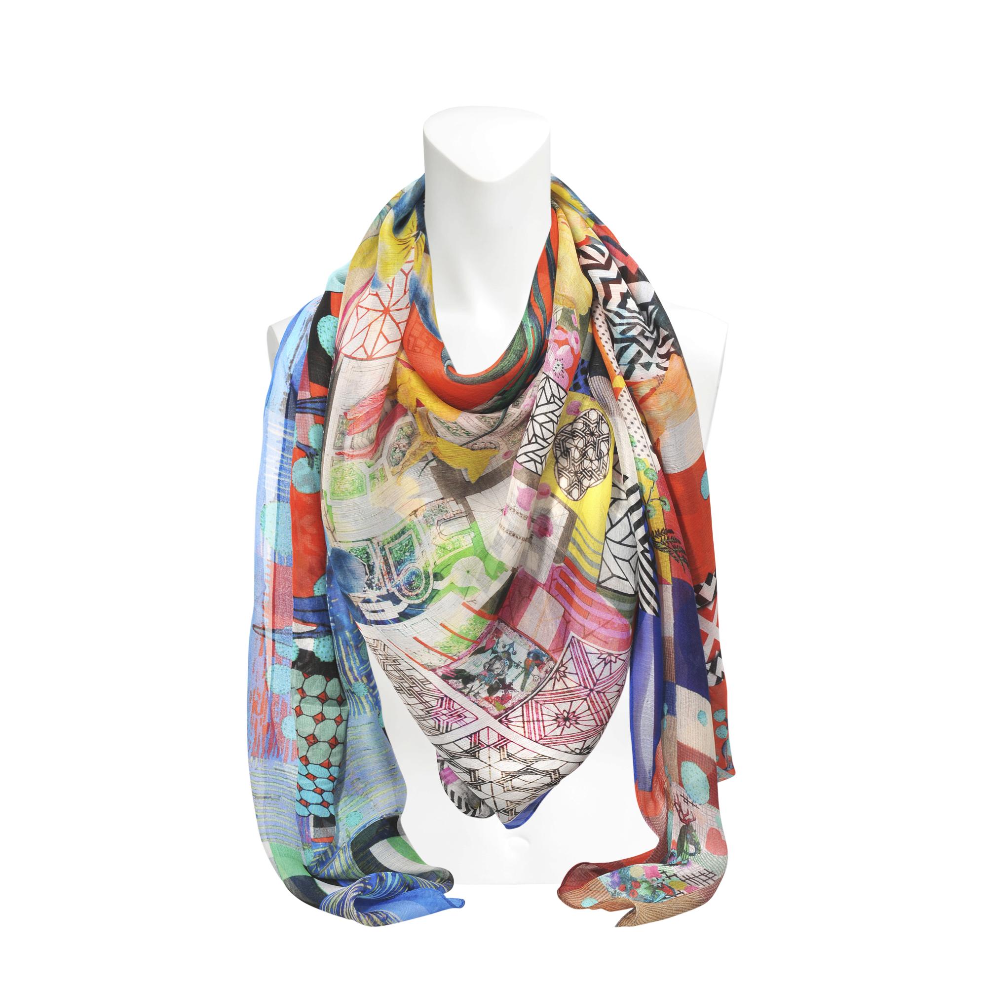 christian lacroix flower mosaic silk scarf 140x140 lyst