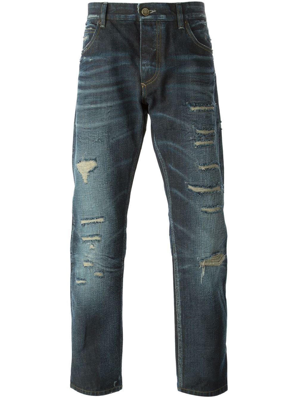 dolce gabbana ripped jeans in blue for men lyst. Black Bedroom Furniture Sets. Home Design Ideas