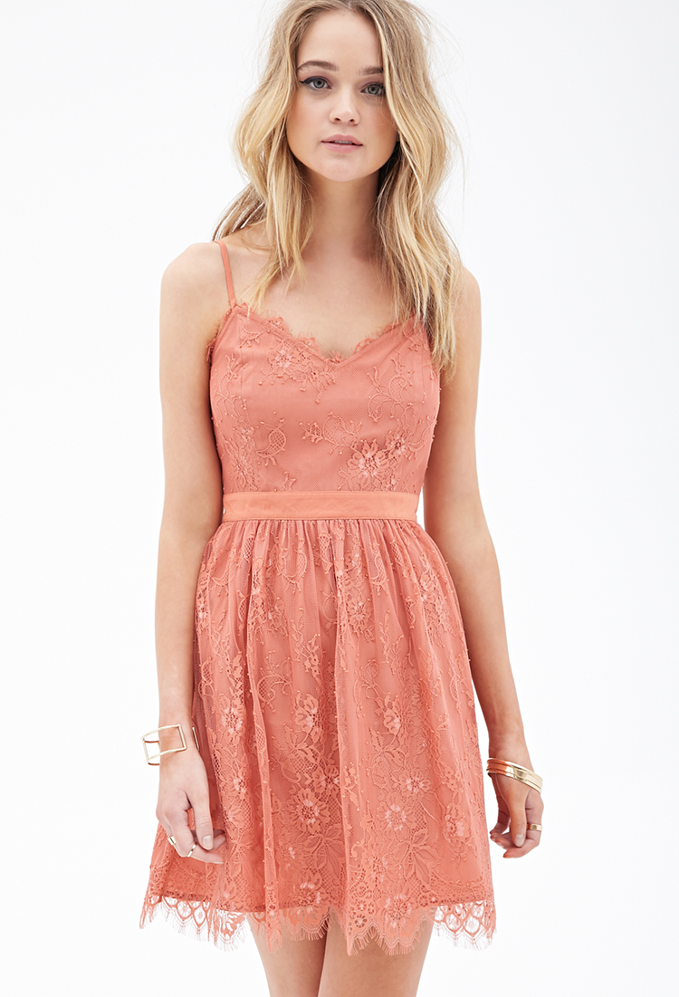 Lyst - Forever 21 Eyelash Lace Dress in Pink - photo #6